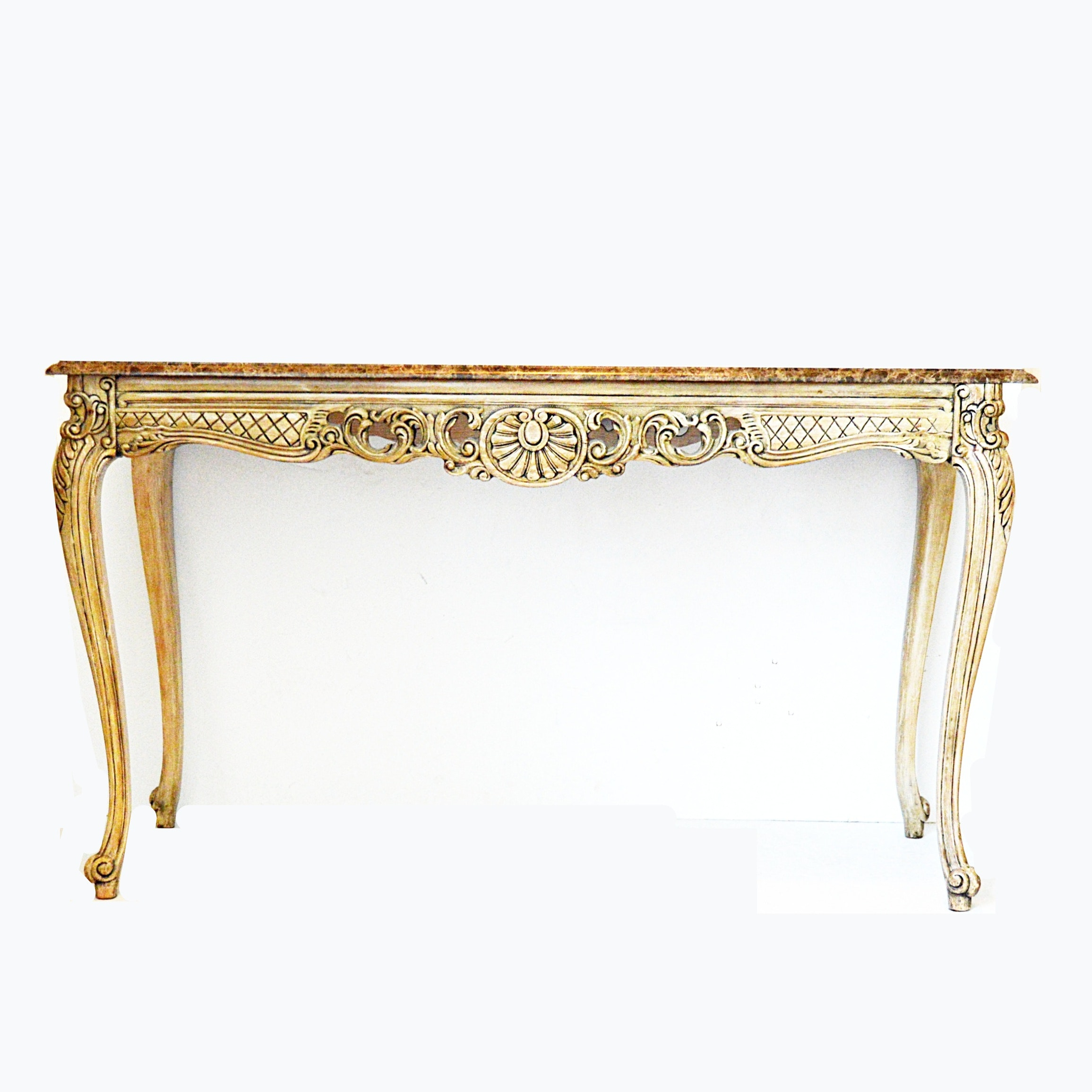 Louis XV Style Console Table with Emperador Marble Top