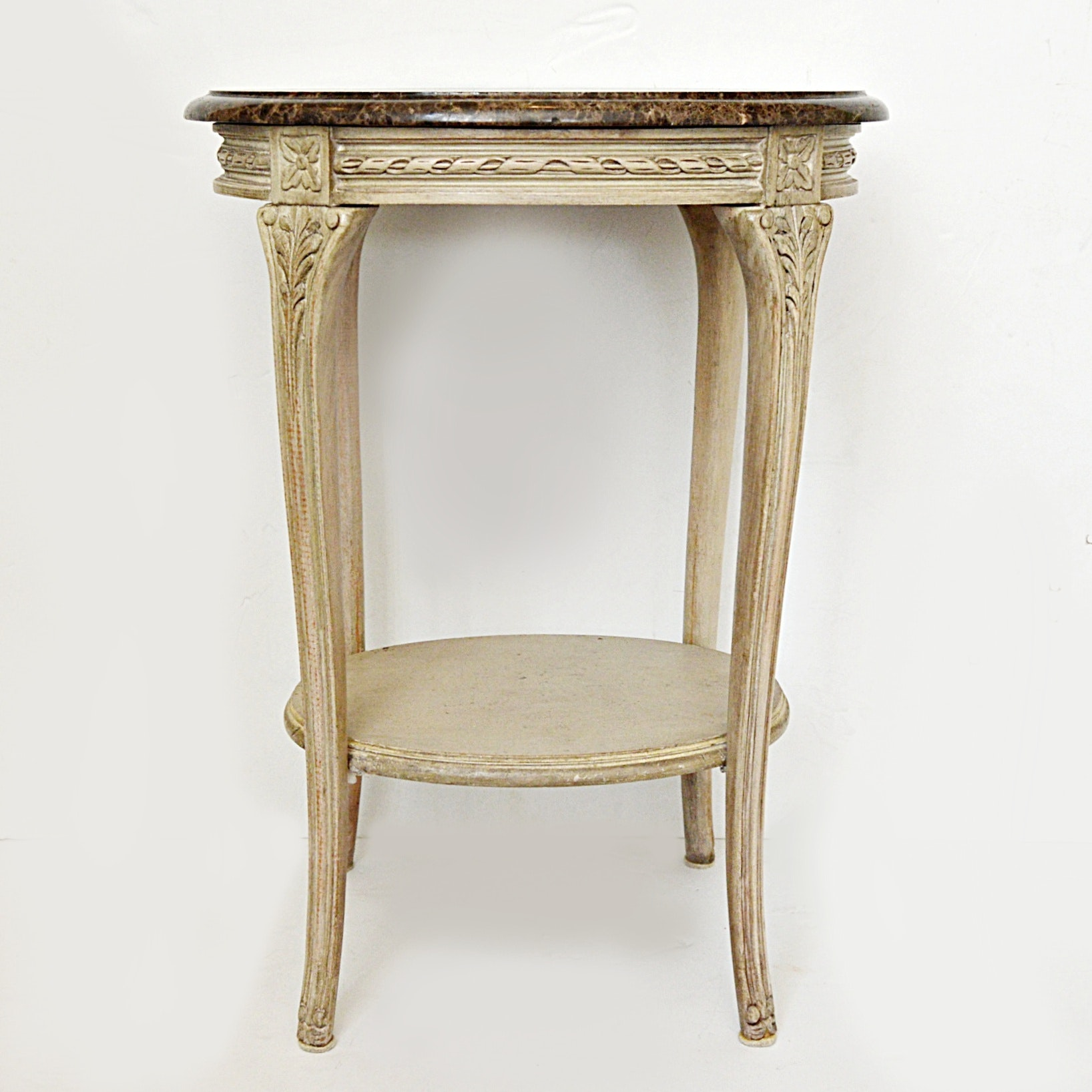 Louis XV Style Marble Top Oval Side Table with Emperador Marble Top