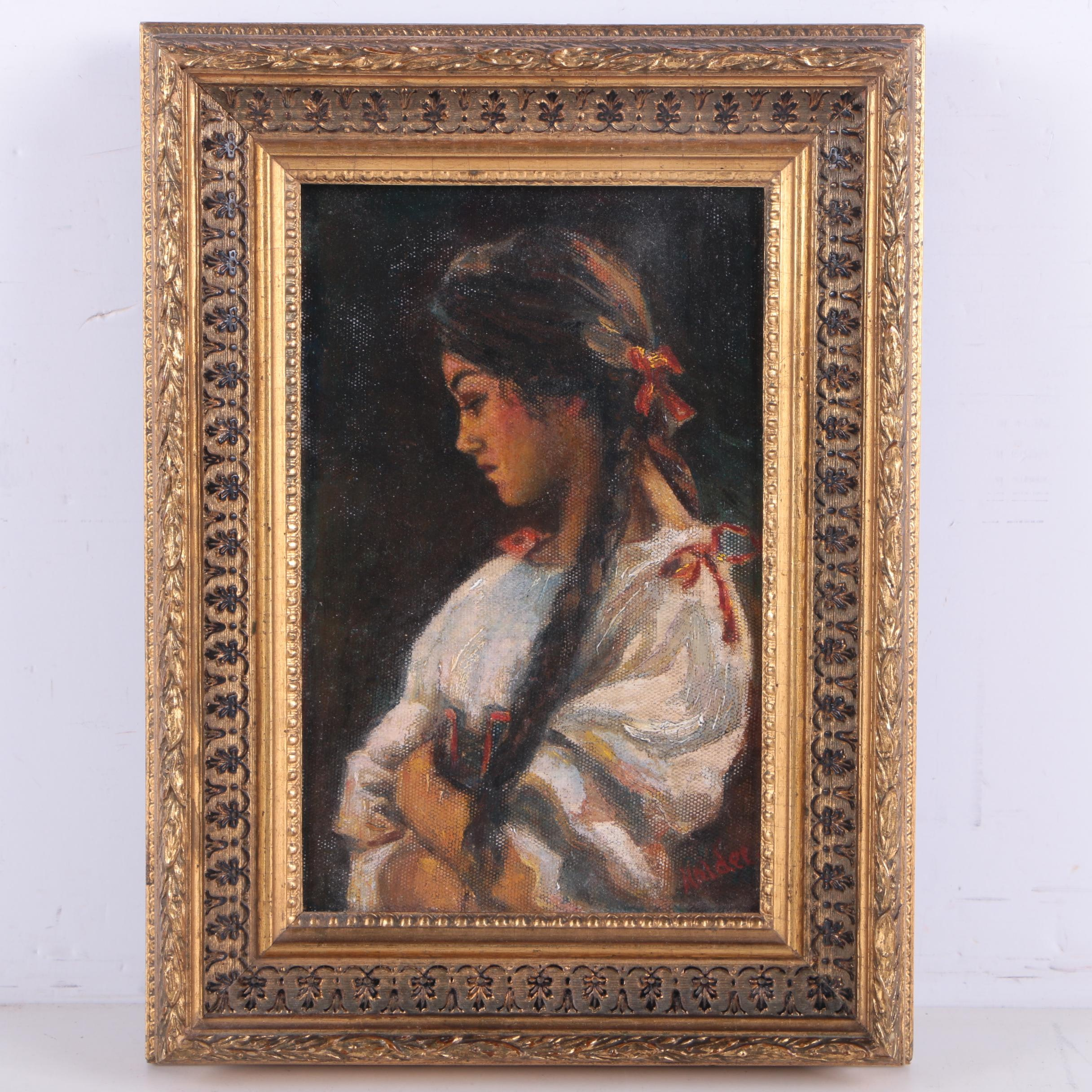 Oil Painting of Woman with Red Ribbons