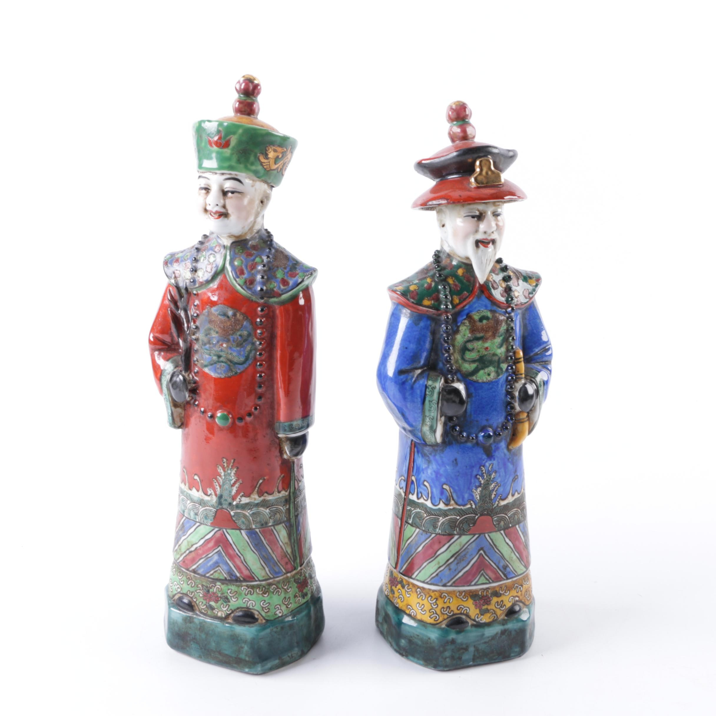 Pair of Chinese Ceramic Figurines Dressed As Qing Dynasty Officials