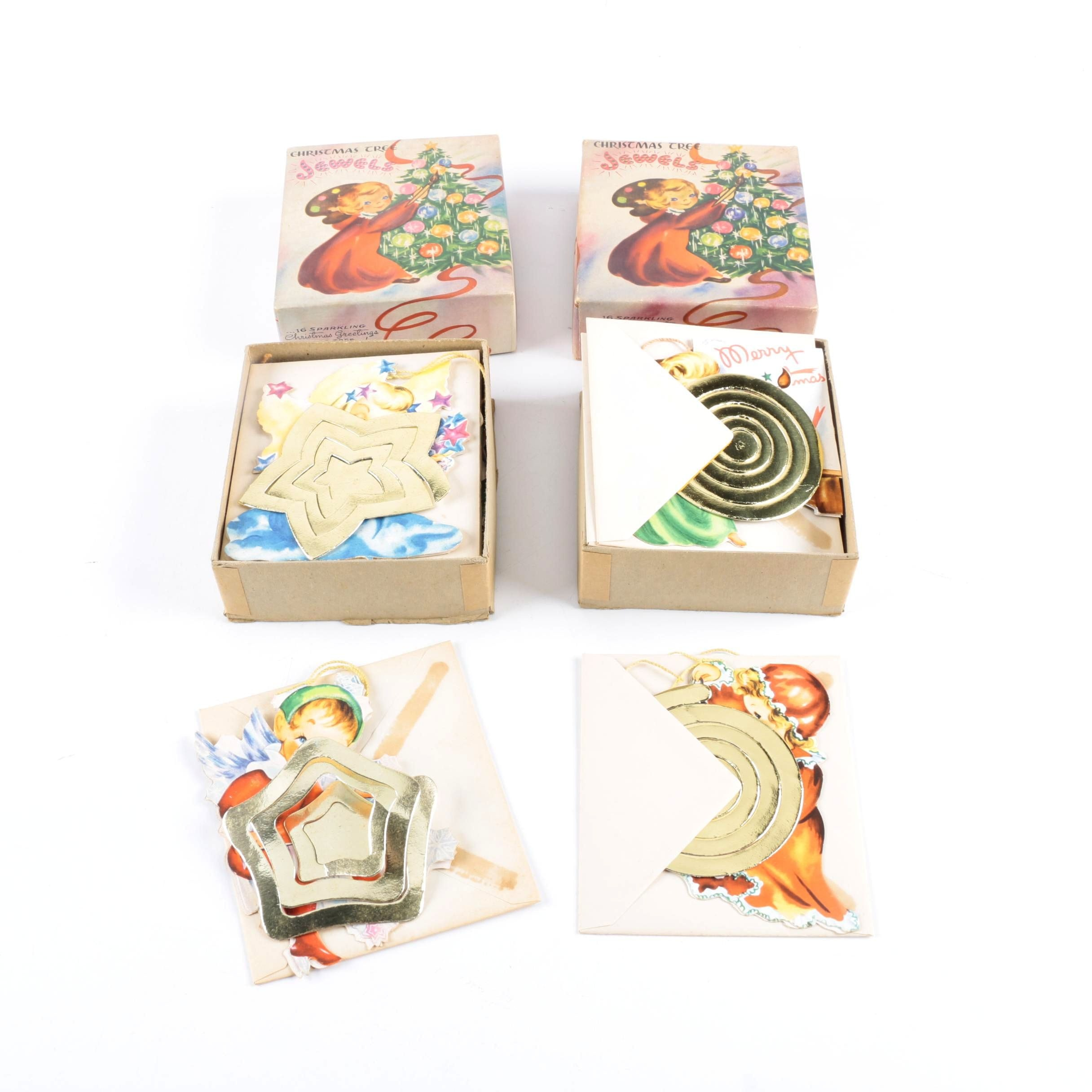 Vintage Christmas Greeting Cards with Tree Ornaments