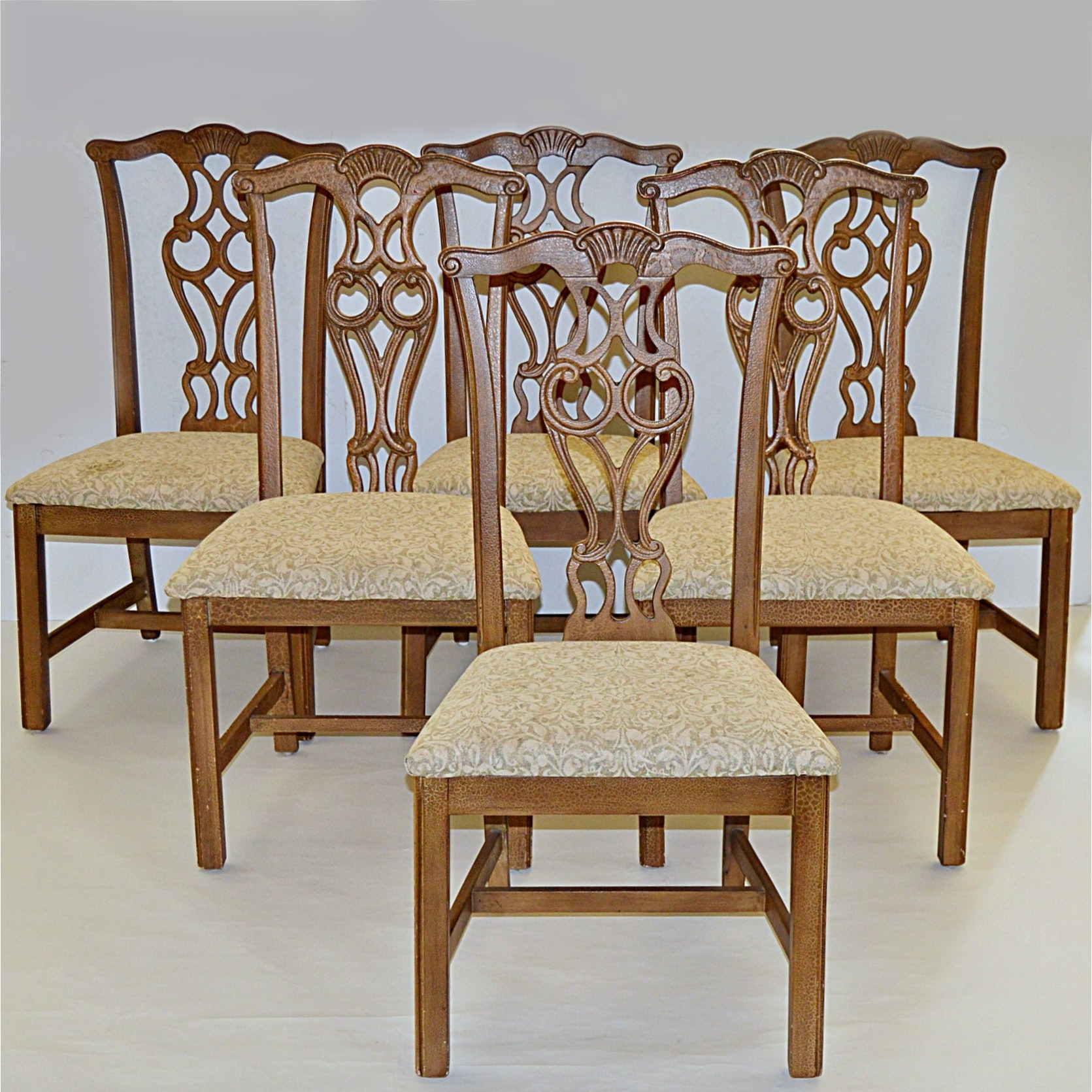 Set of Six Chippendale Style Chairs in an Aged Dark Cream Finish