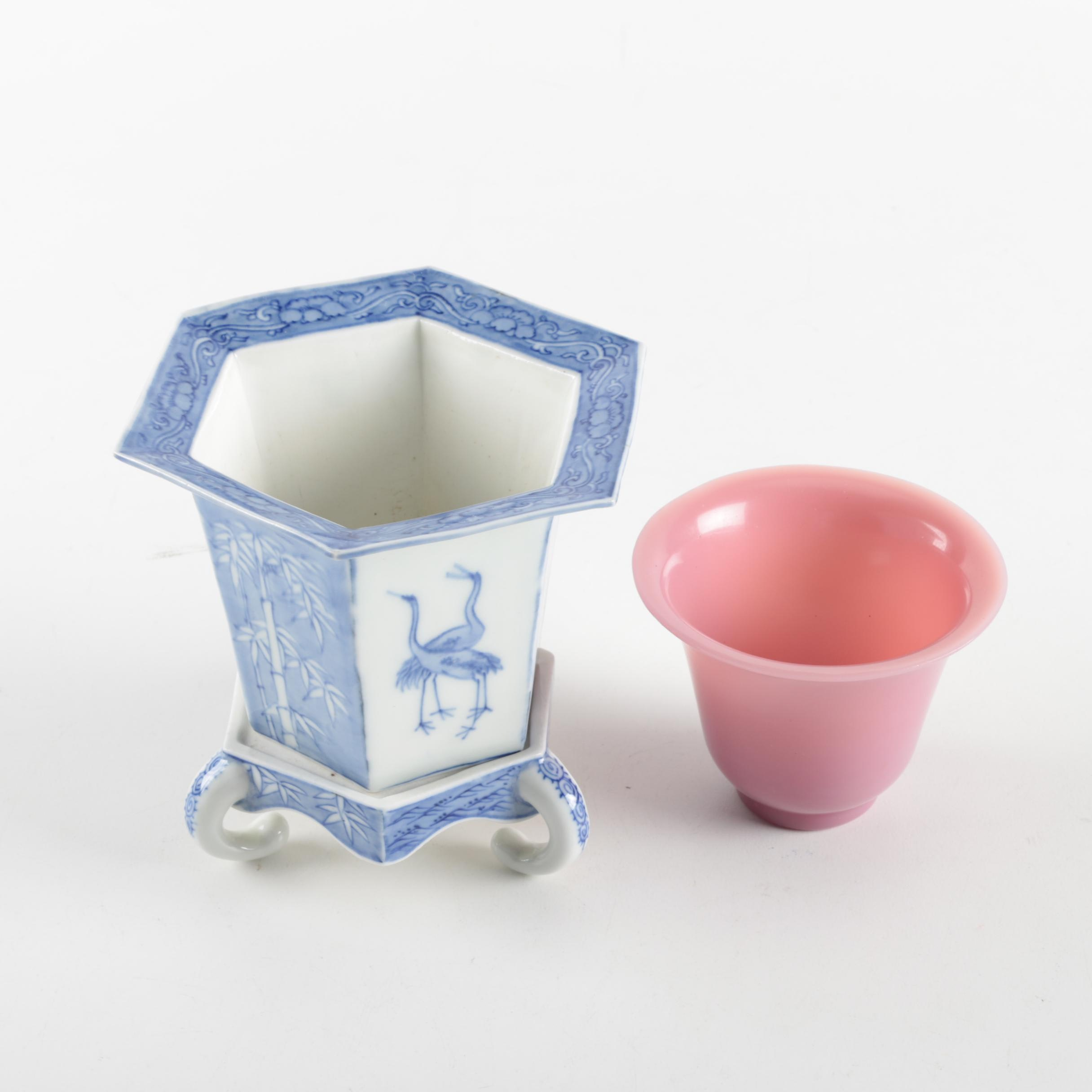 East Asian Porcelain Planter and Cup