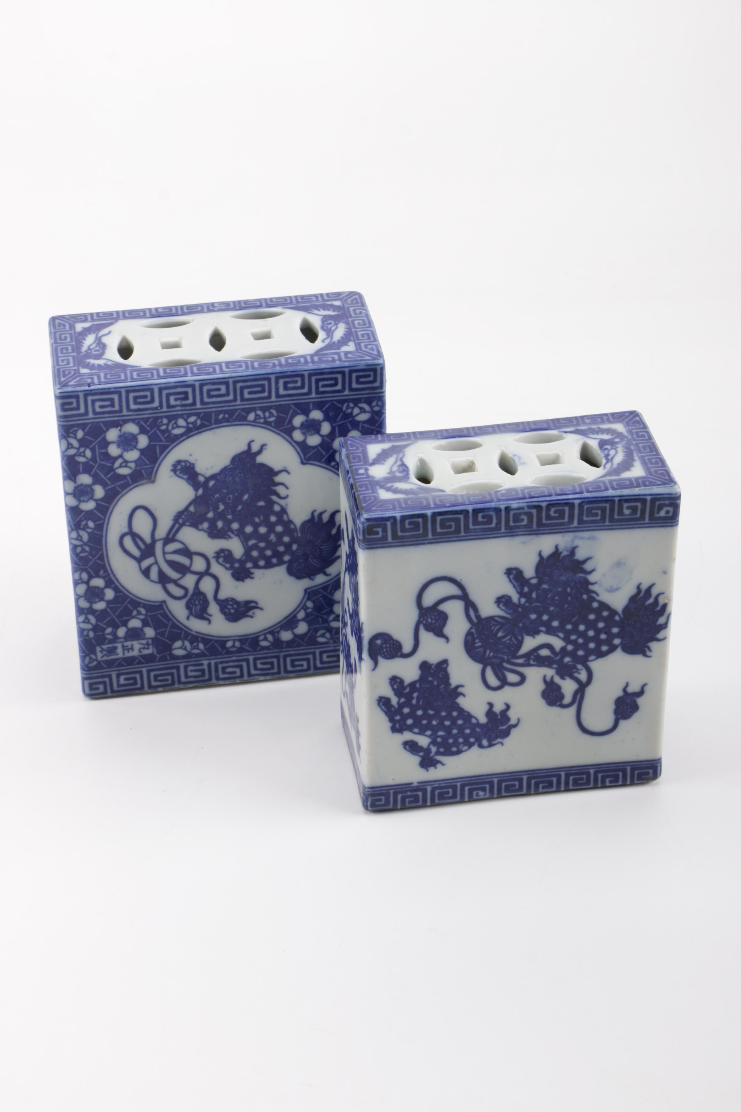 Pair of Blue and White Porcelain Incense Burners
