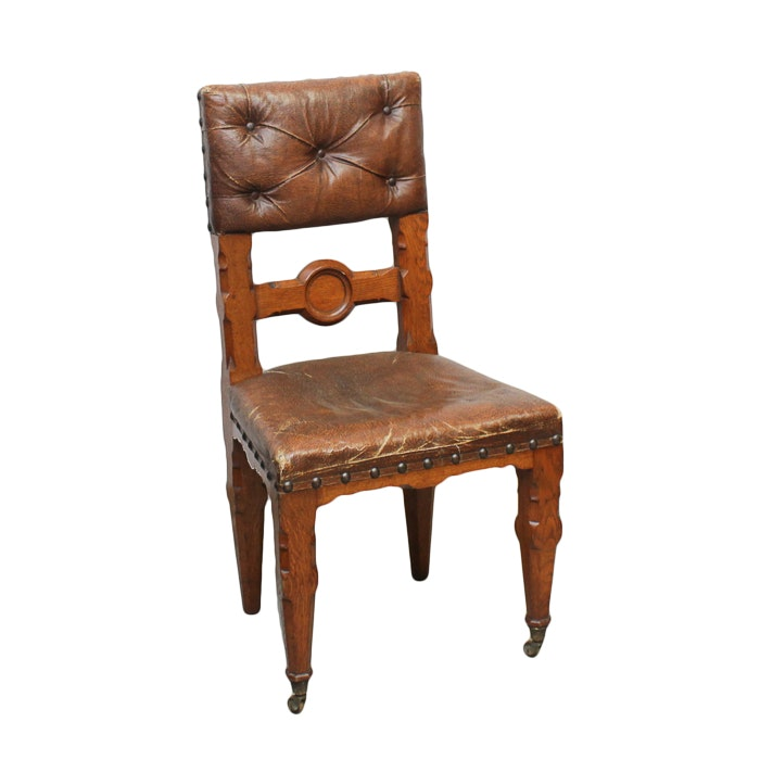 Antique Oak Side Chair with Faux-Leather Upholstery