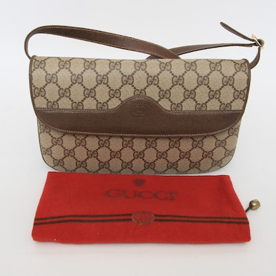 Gucci Monogram Canvas And Leather Purse