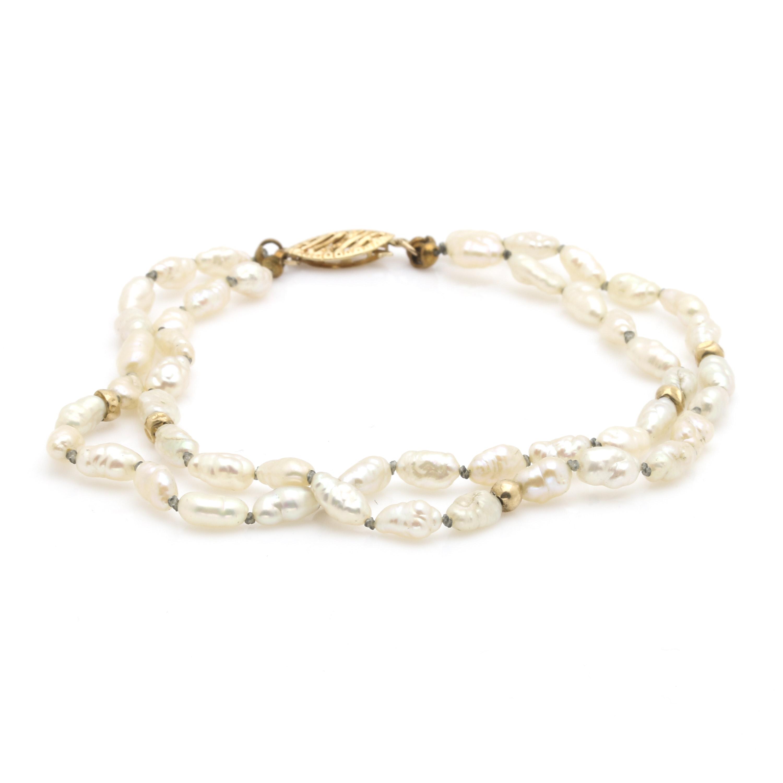 14K Yellow Gold Rice Pearl Bracelet