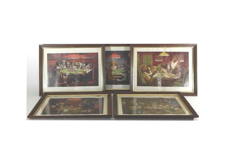 Five C. M. Coolidge Framed Dog Prints