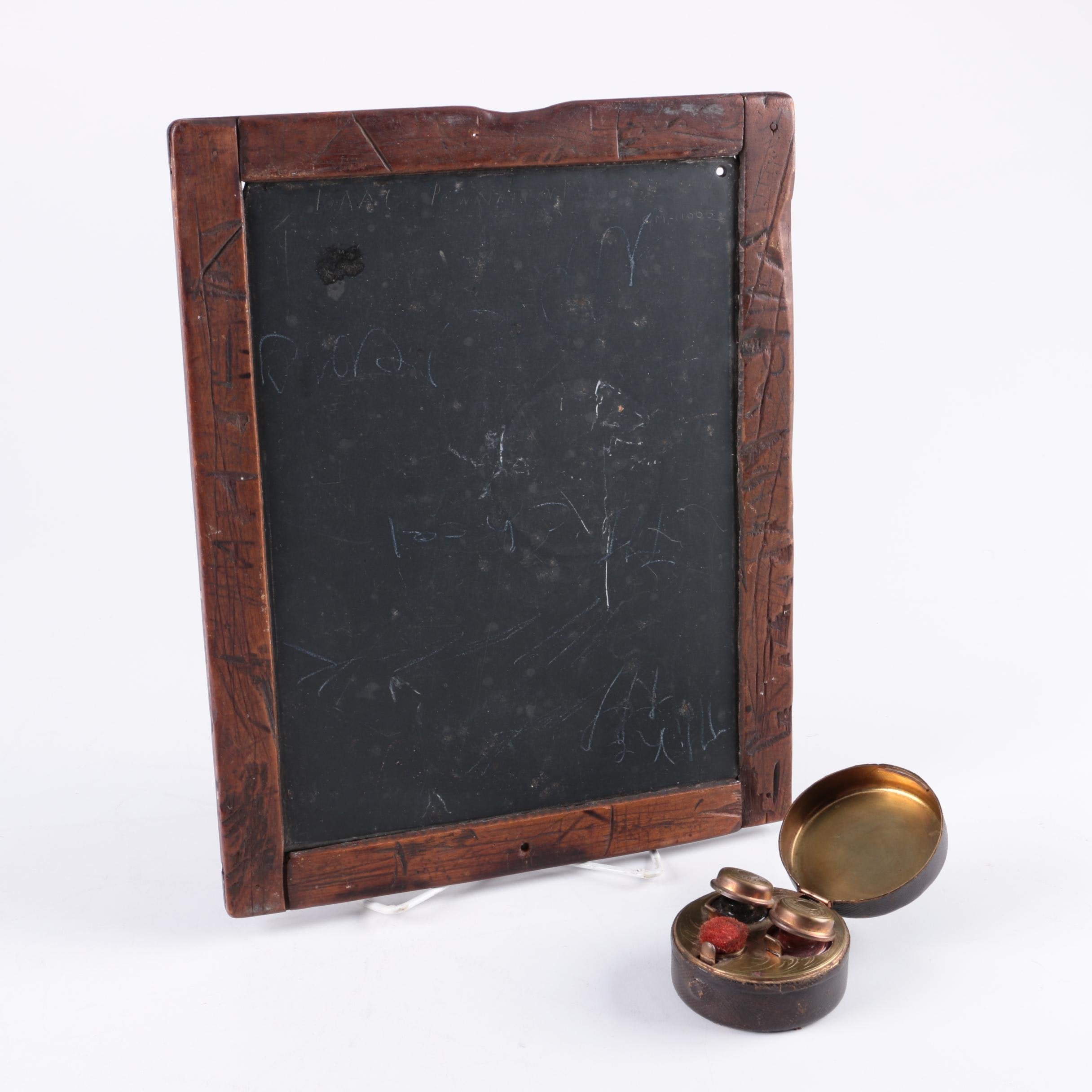 Vintage Chalkboard and Brass Inkwell