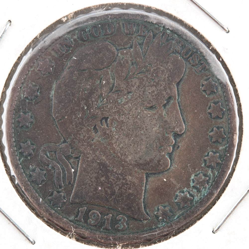1913 Silver Barber Half Dollar