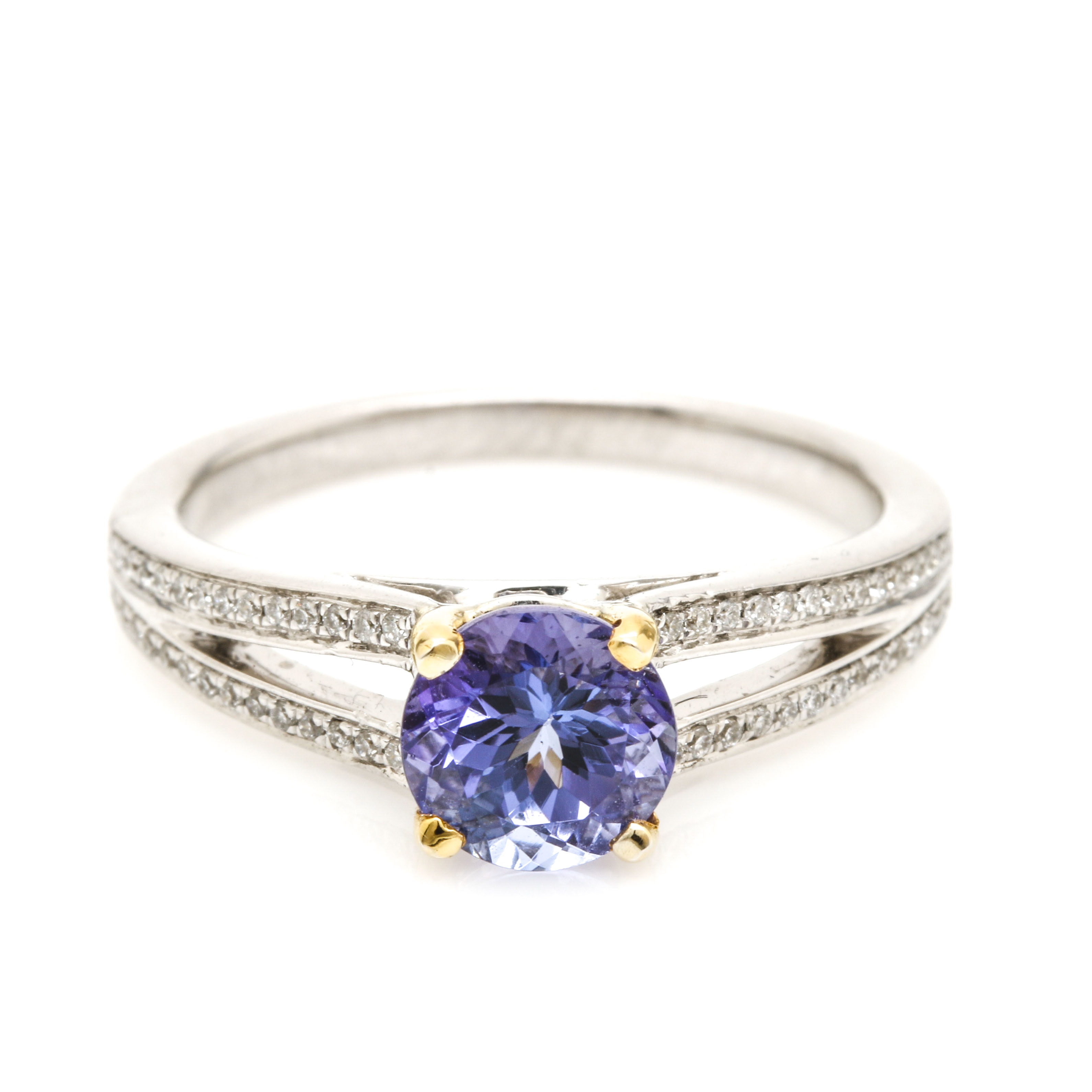 18K White Gold 1.19 CT Tanzanite and Diamond Ring