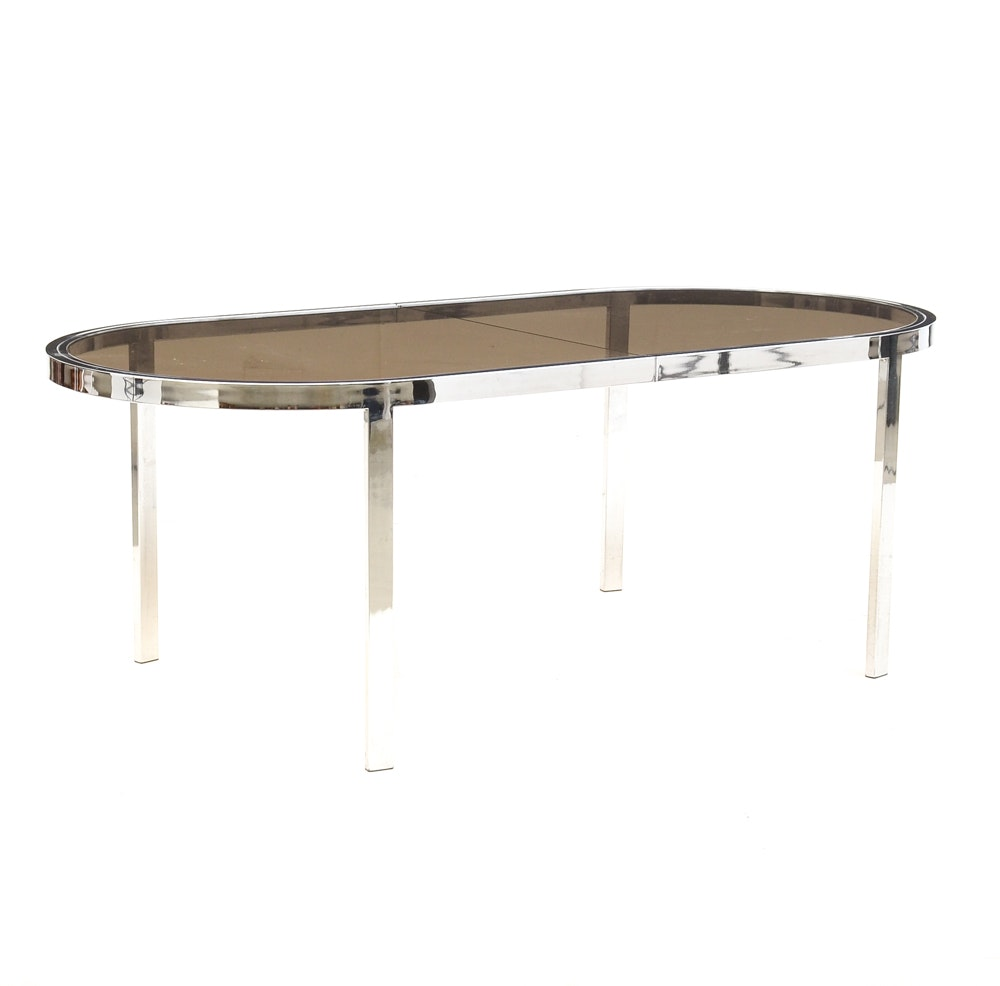 Smoked Glass and Chrome Extension Dining Table