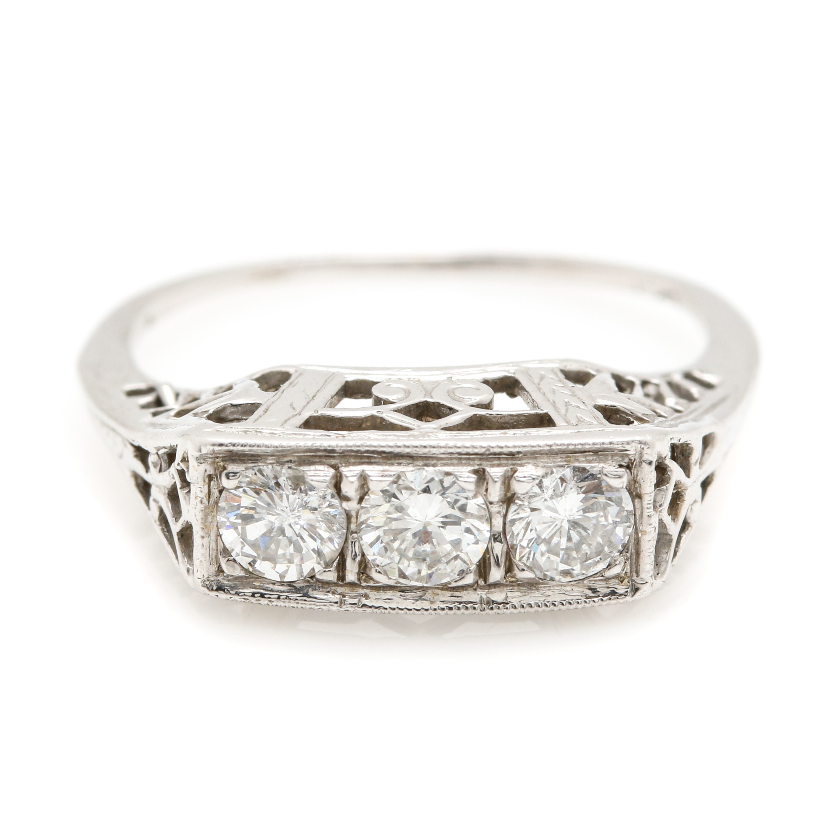 14K White Gold Diamond Filigree Ring