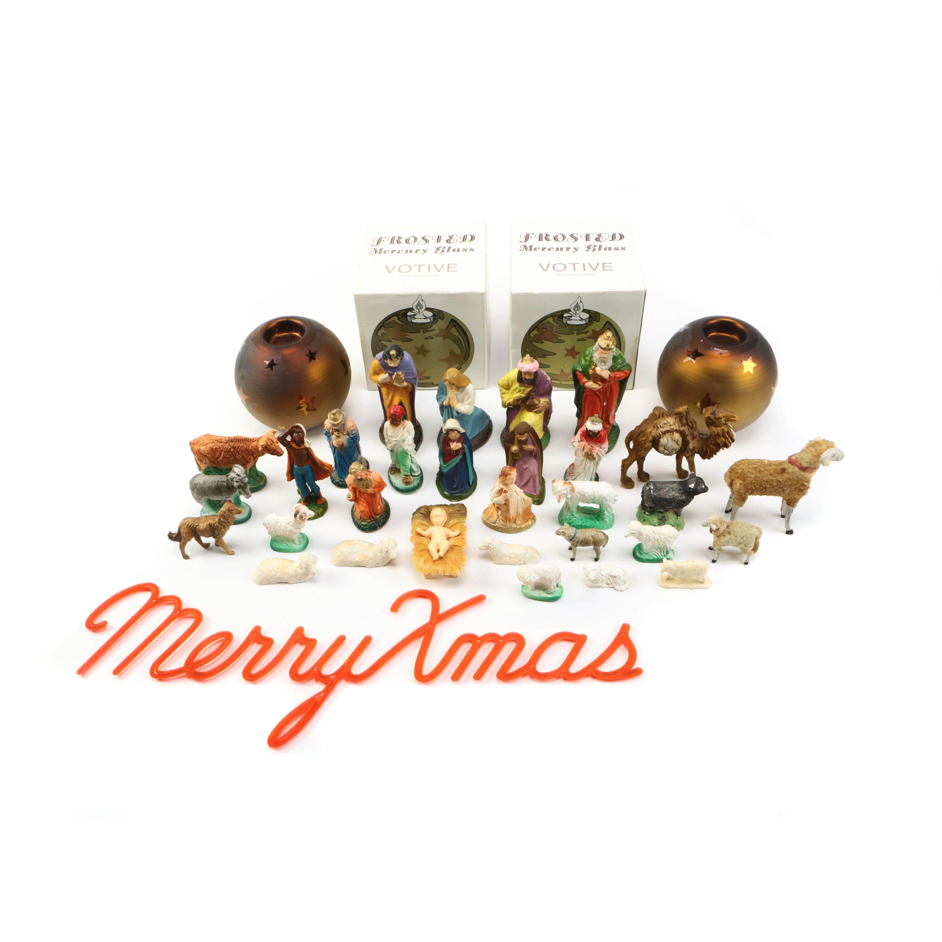 Vintage Nativity Figurines and Handblown Glass Votives