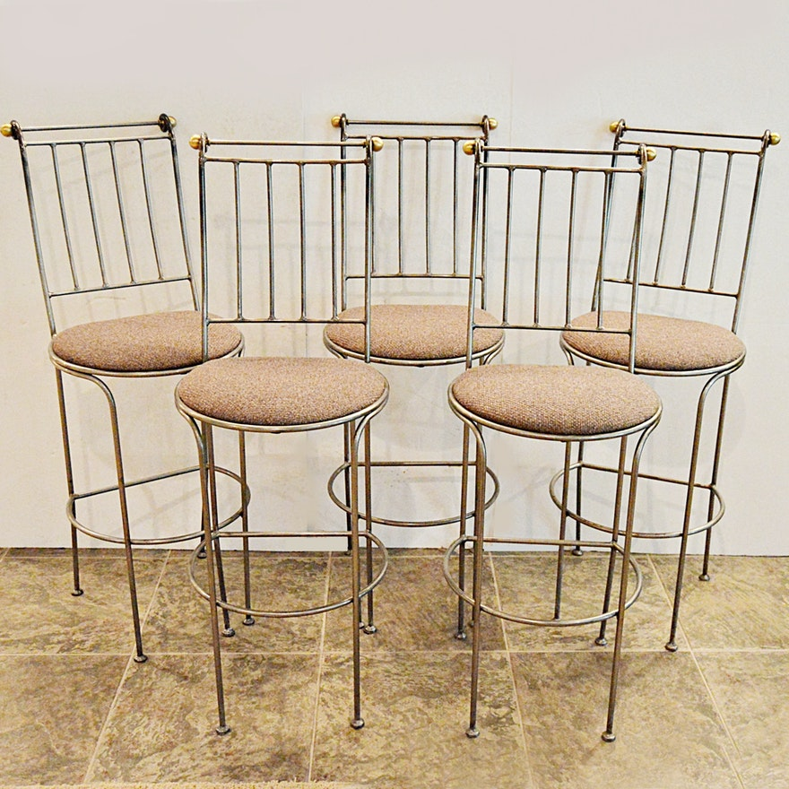 Marvelous Set Of Five Charleston Forge Providence Metal Bar Stools Caraccident5 Cool Chair Designs And Ideas Caraccident5Info