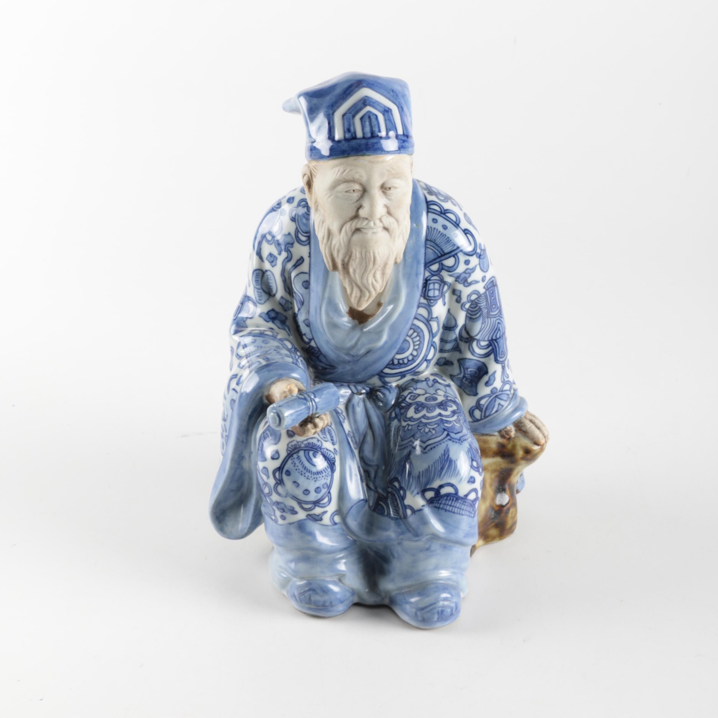 Ceramic Blue and White Chinese Male Figurine