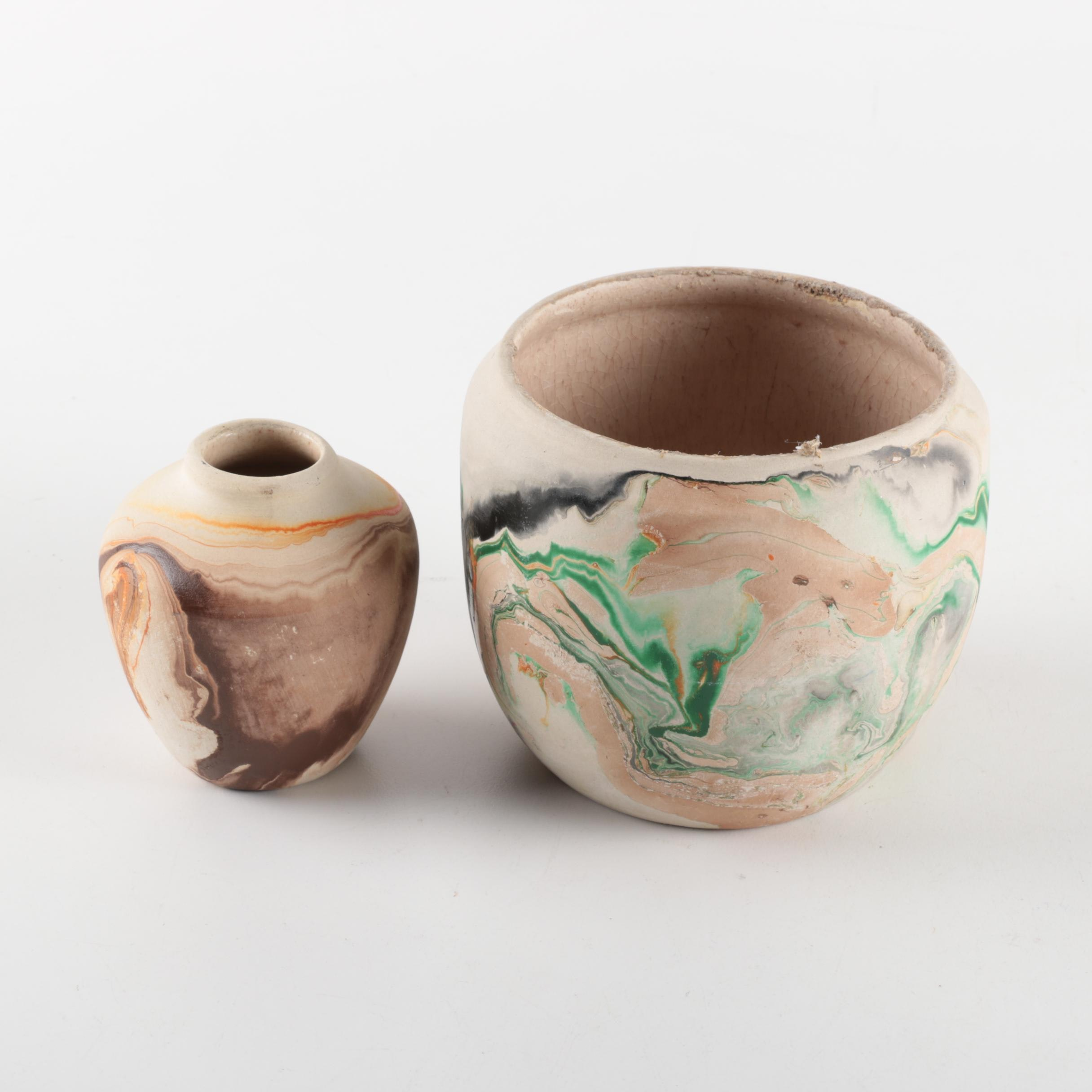 Pair of Nemadji Pottery Vases