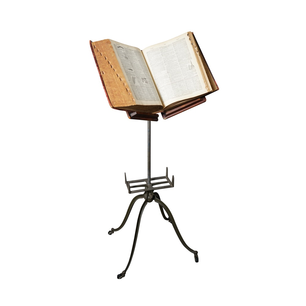 Vintage Book Stand with Webster's Dictionary