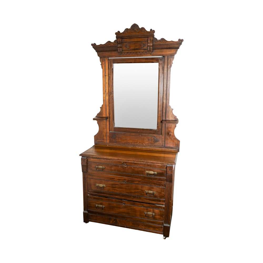 Antique Oak Eastlake Dresser with Mirror