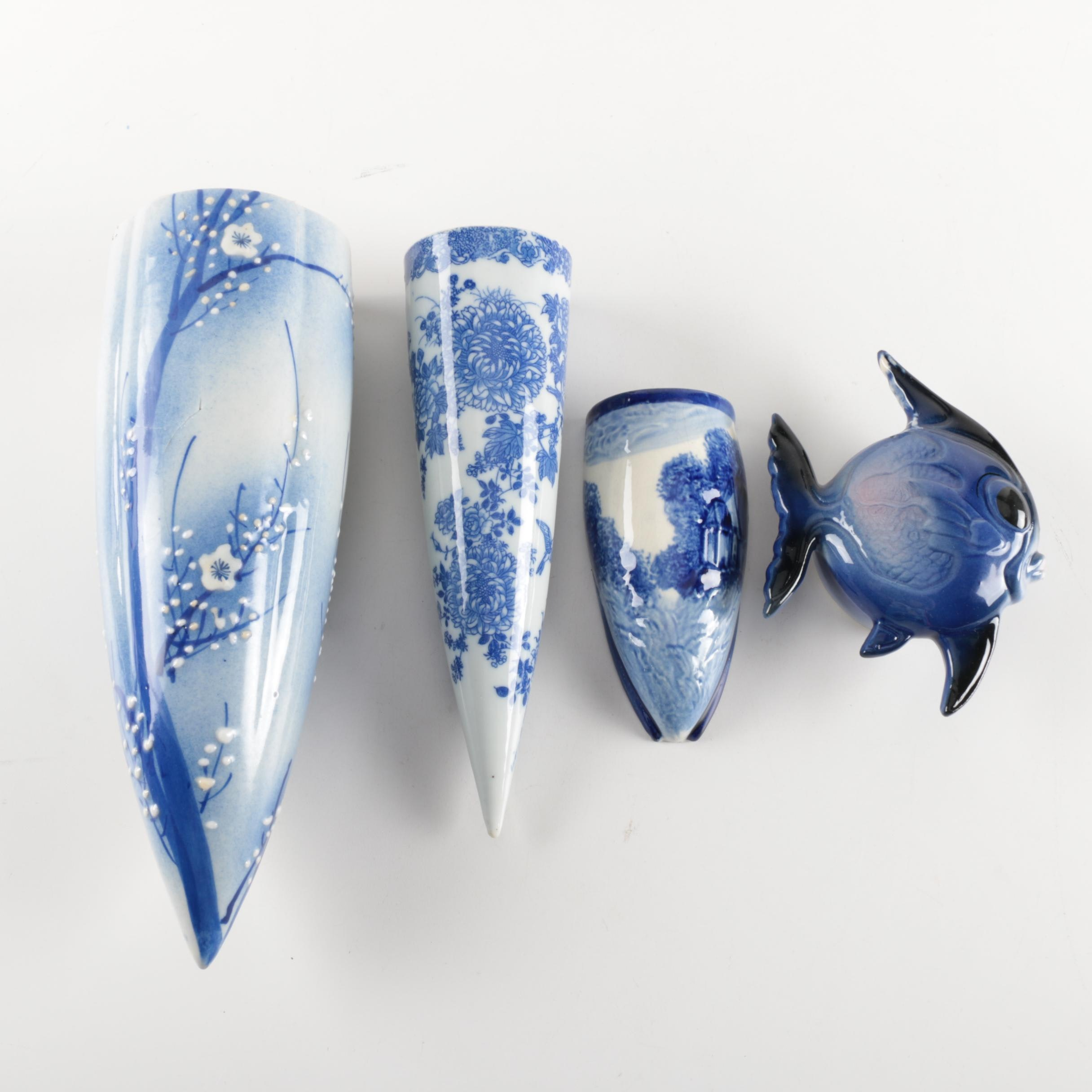 Collection of Blue and White Japanese Wall Pockets