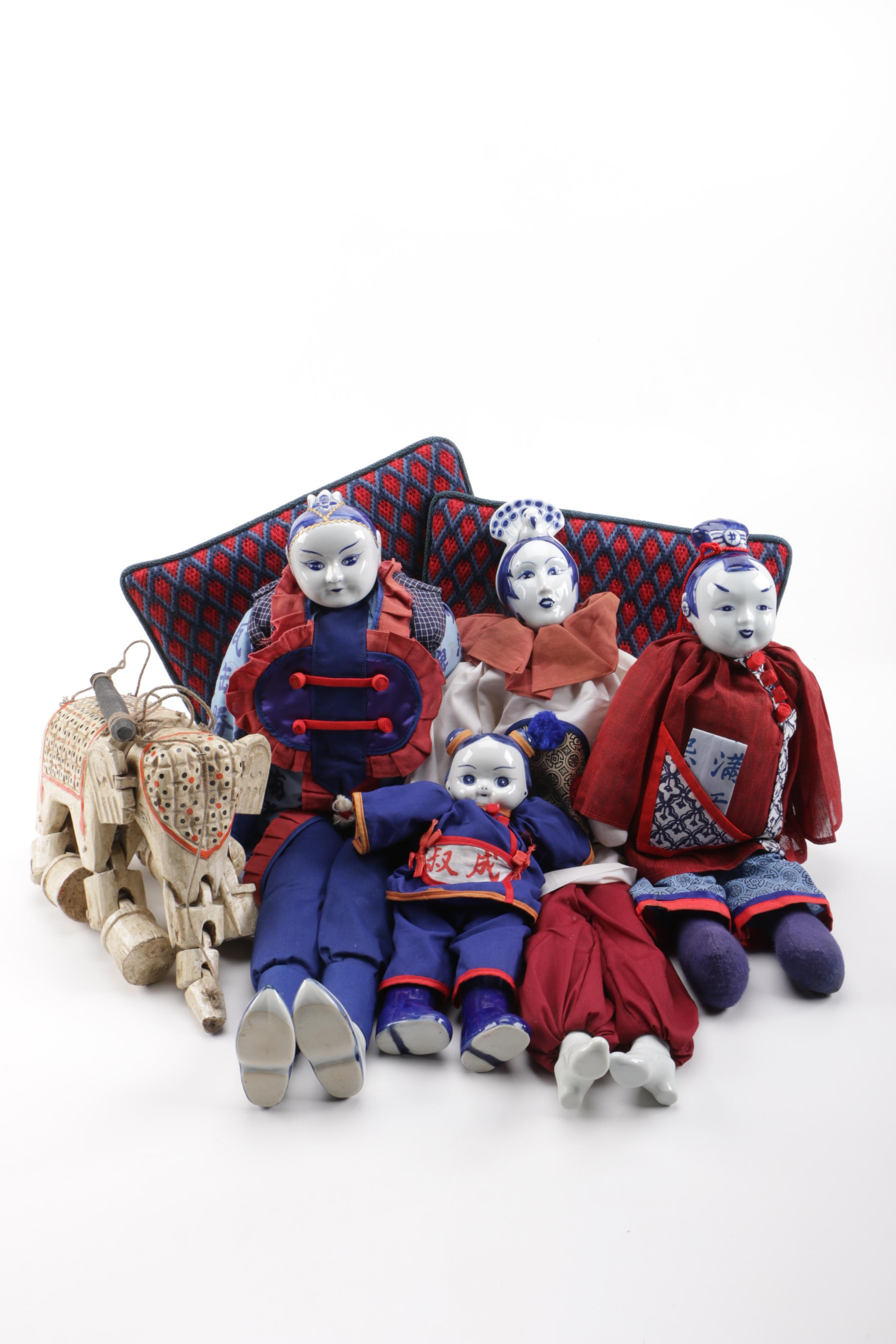 Collection of Chinese Dolls and Vintage Elephant Marionette