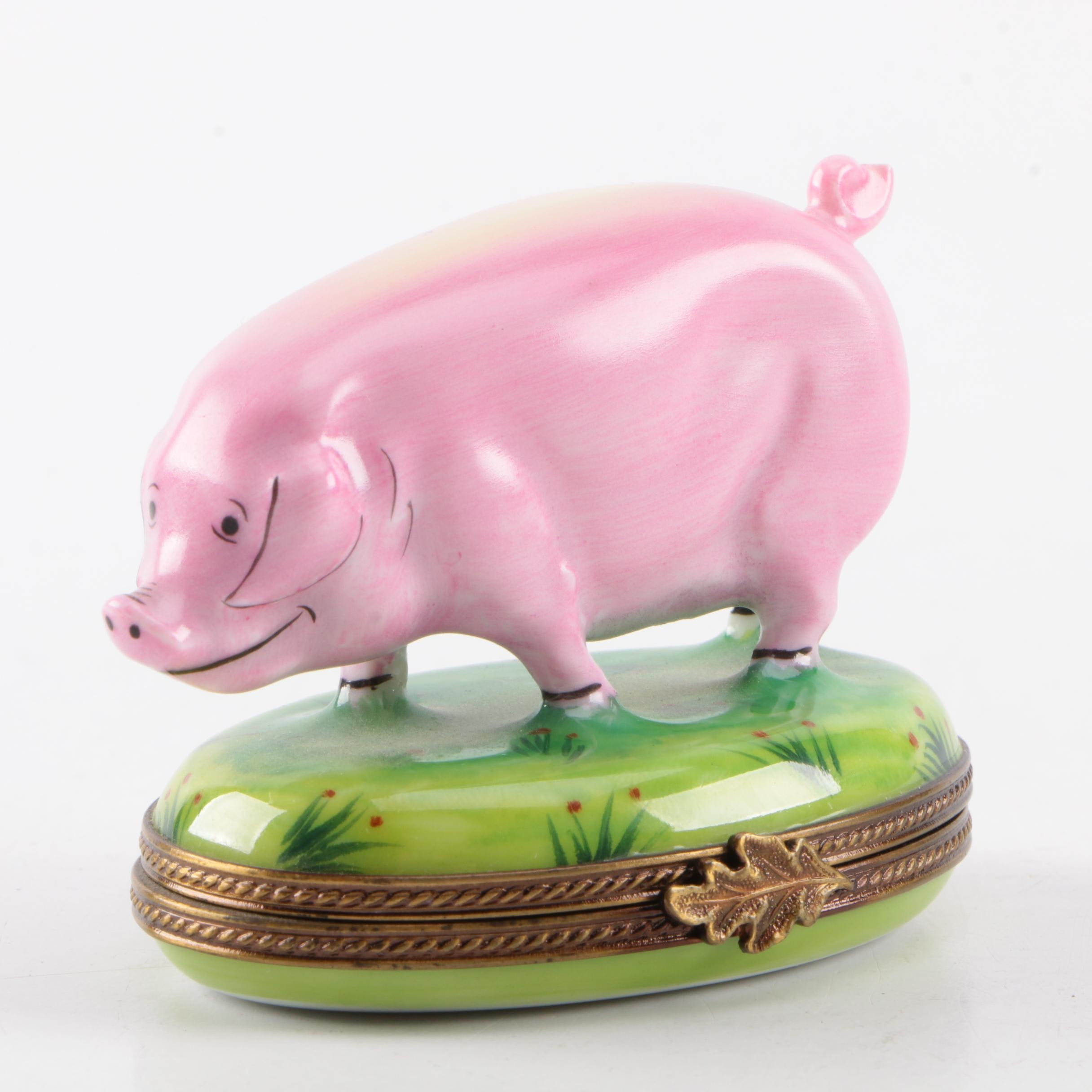 Limoges Porcelain Pig Trinket Box