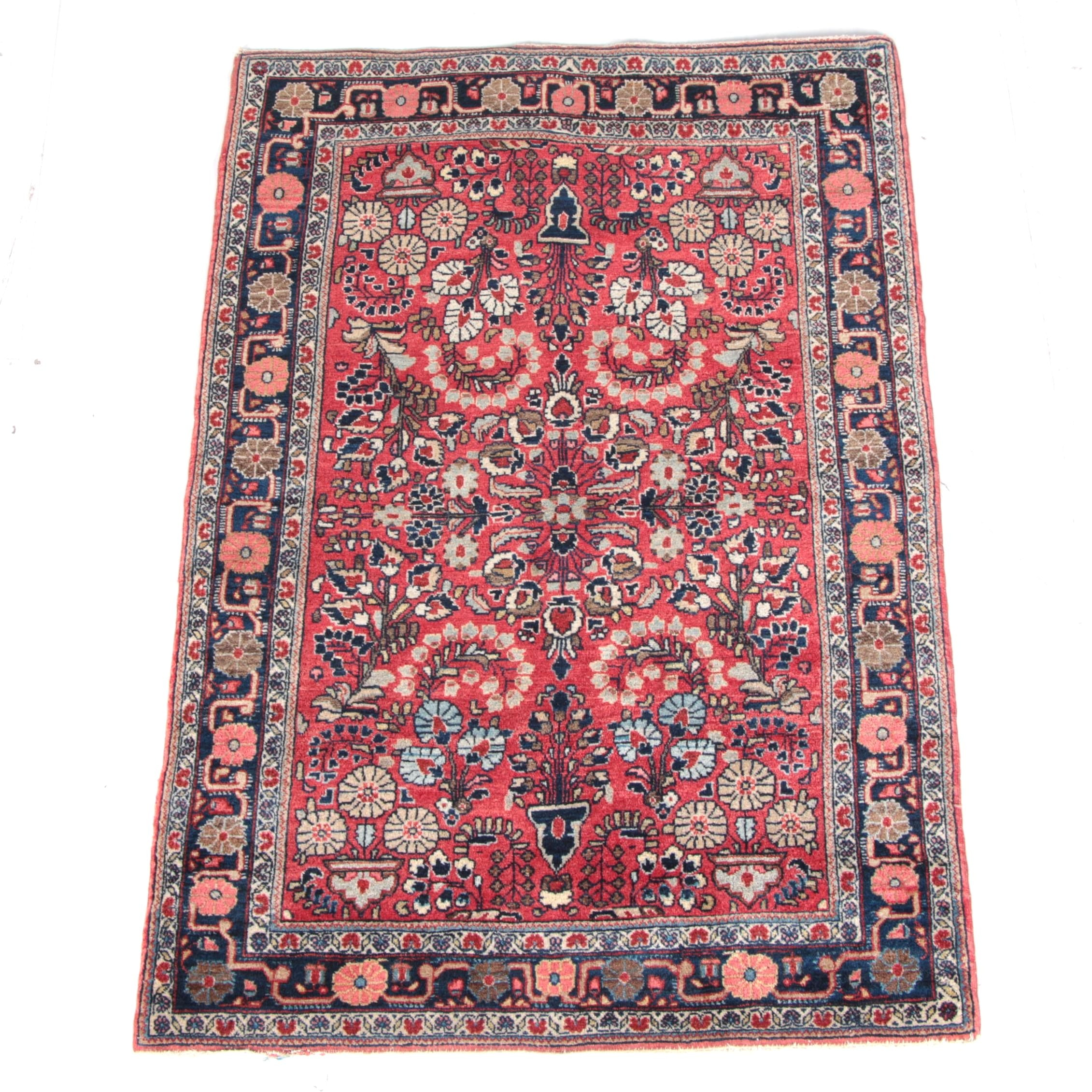 Semi-Antique Hand-Knotted Persian Sarouk Area Rug