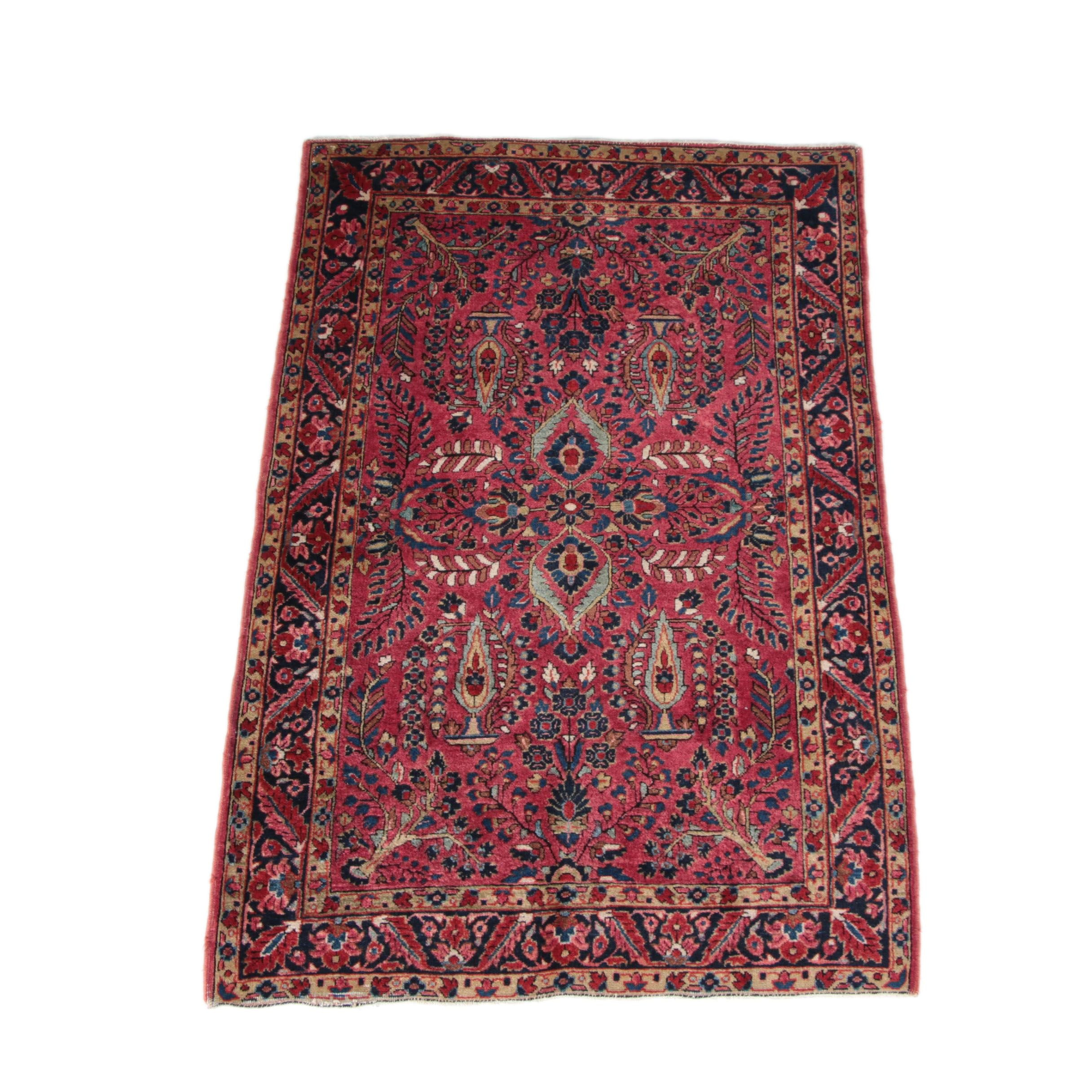Semi-Antique Hand-Knotted Persian Mehriban Area Rug