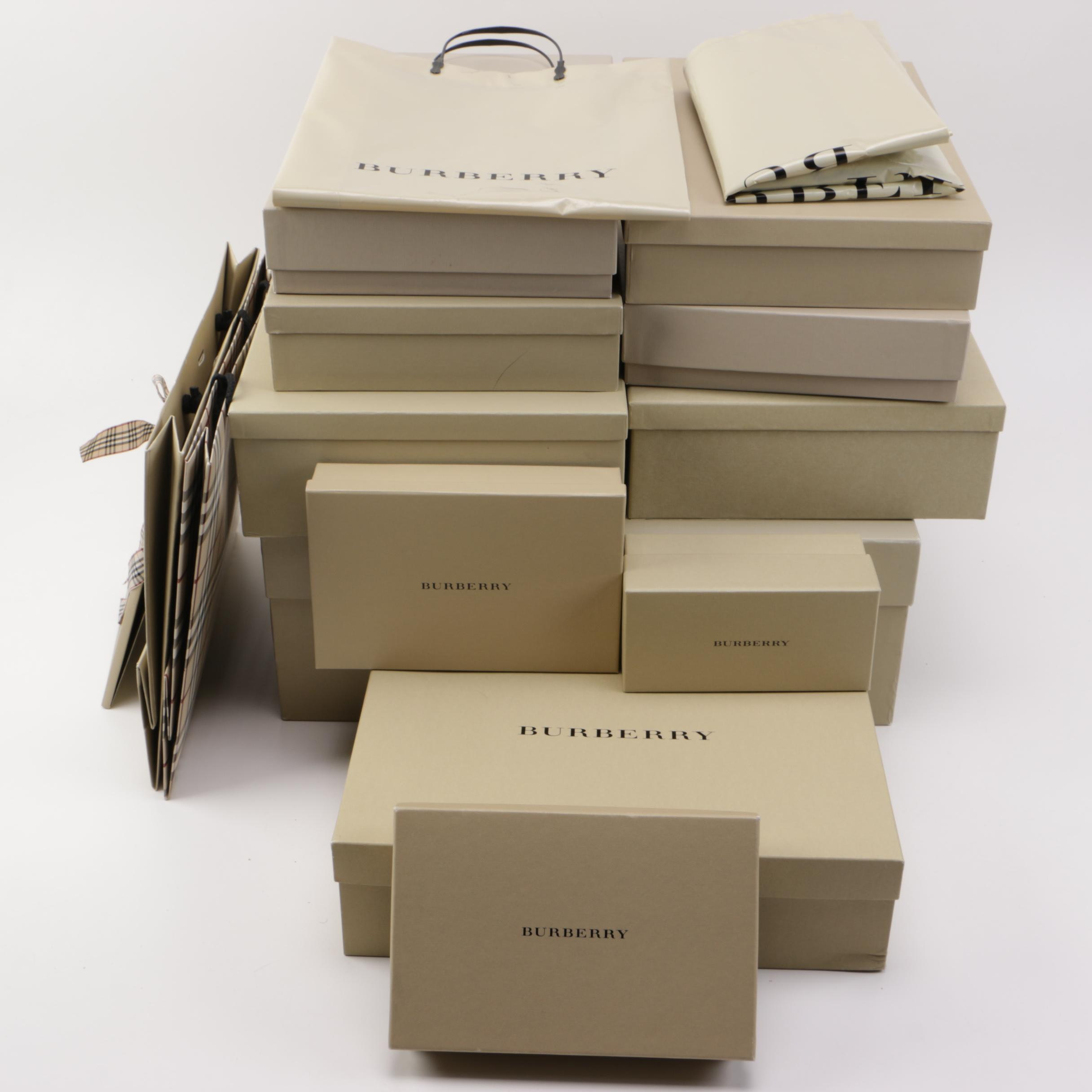 Assorted Burberry Shopping Boxes and Bags