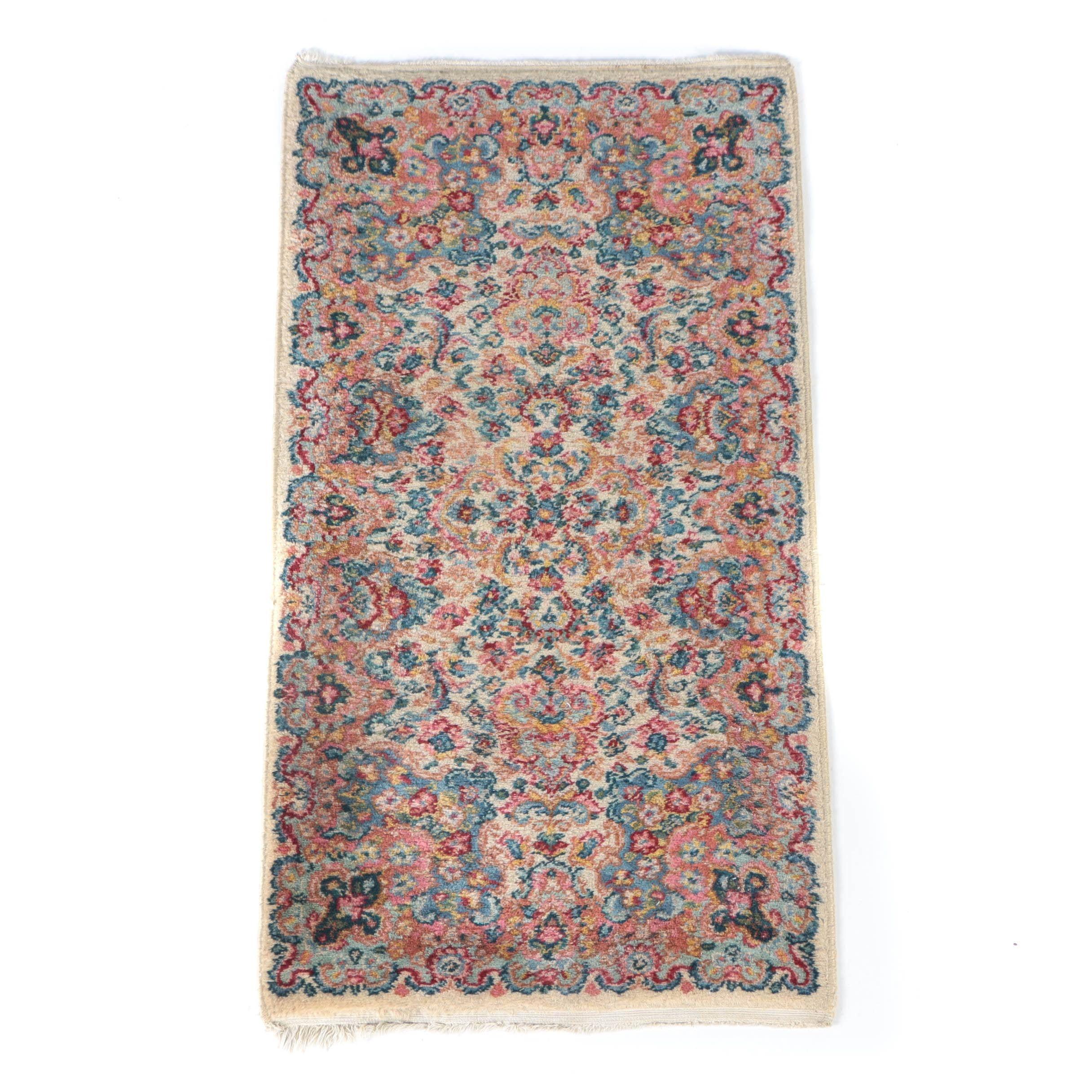 Vintage Power-Loomed Kerman-Style Wool Area Rug