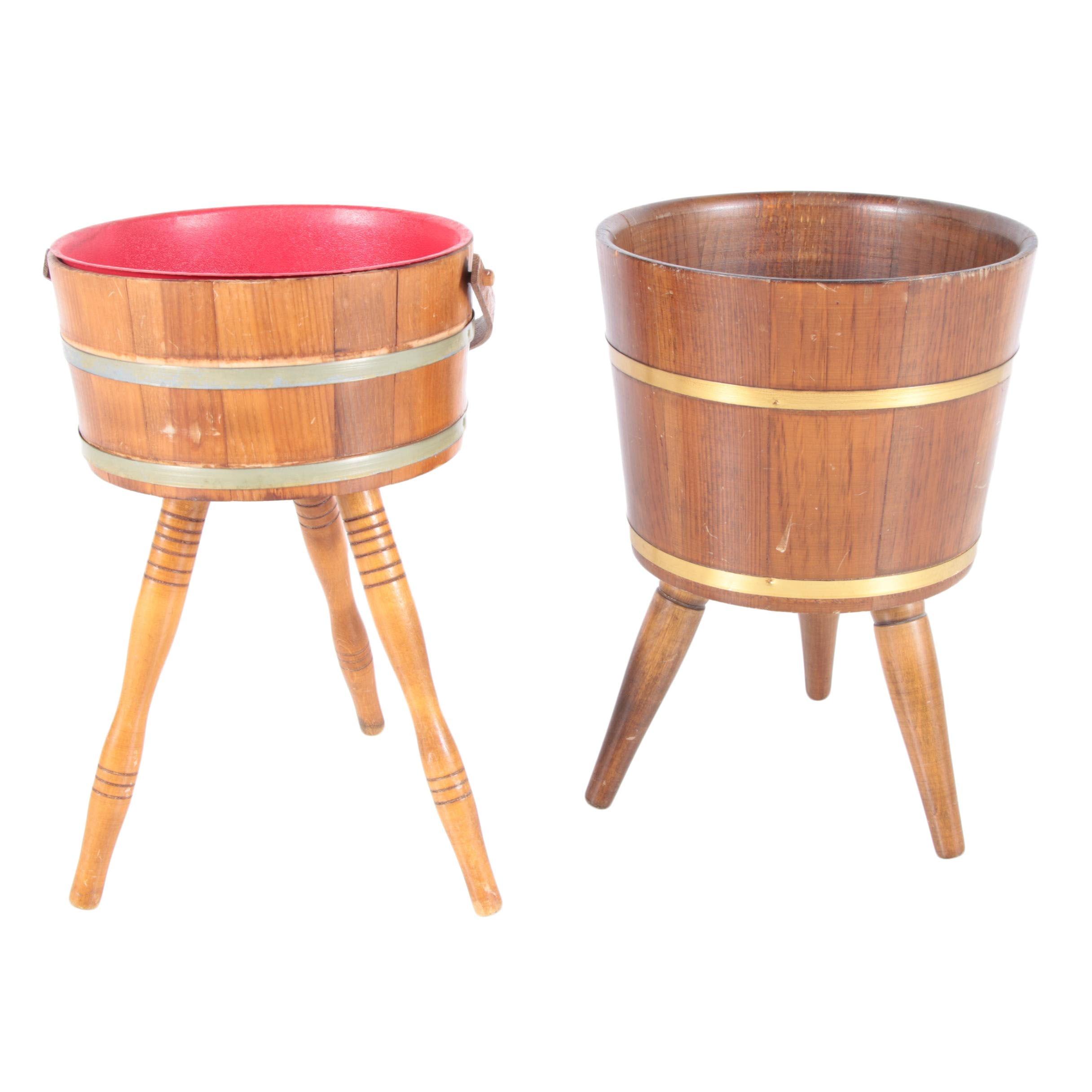 Two Vintage Sewing Bucket Barrels