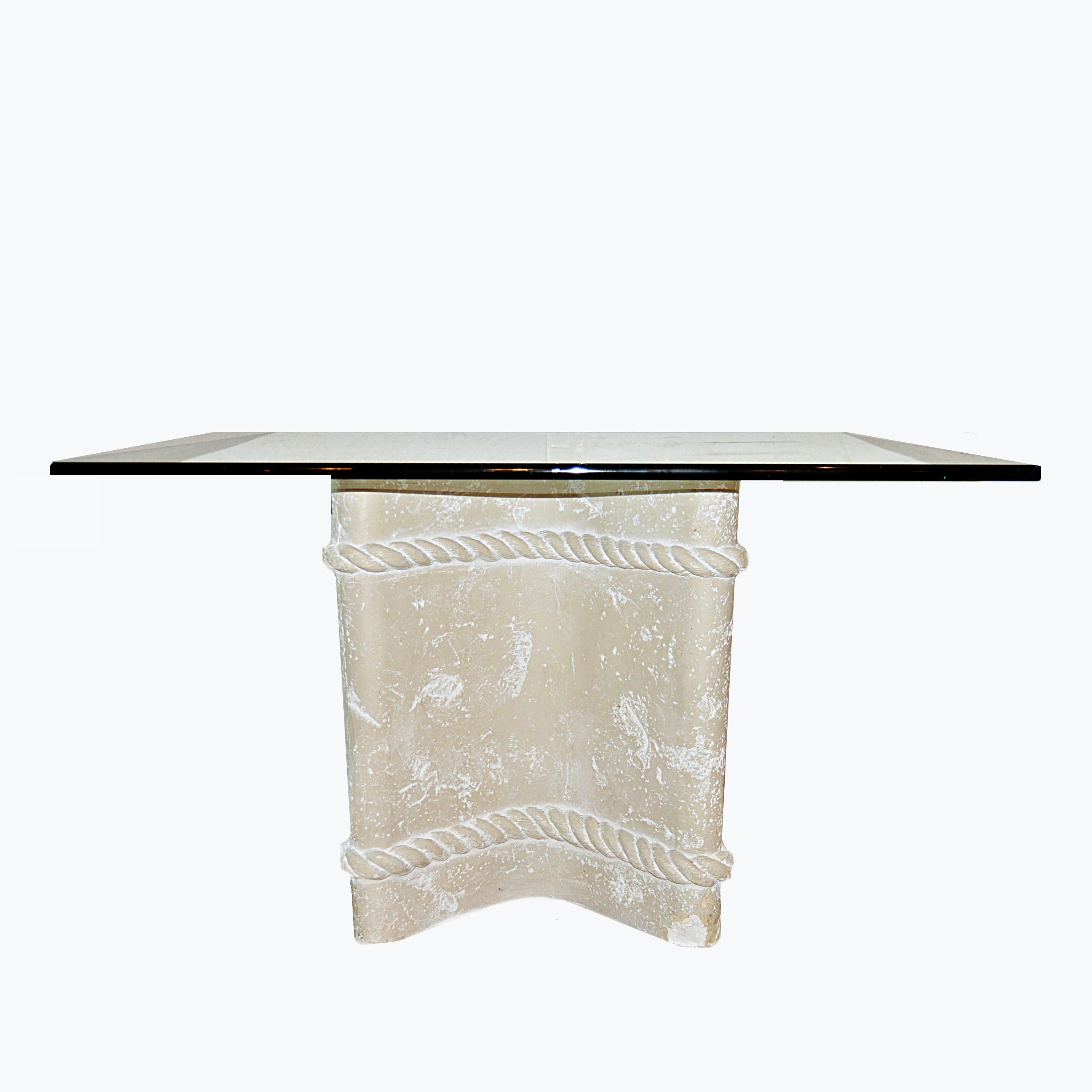 Modern Glass Top Table with Faux Stone Base