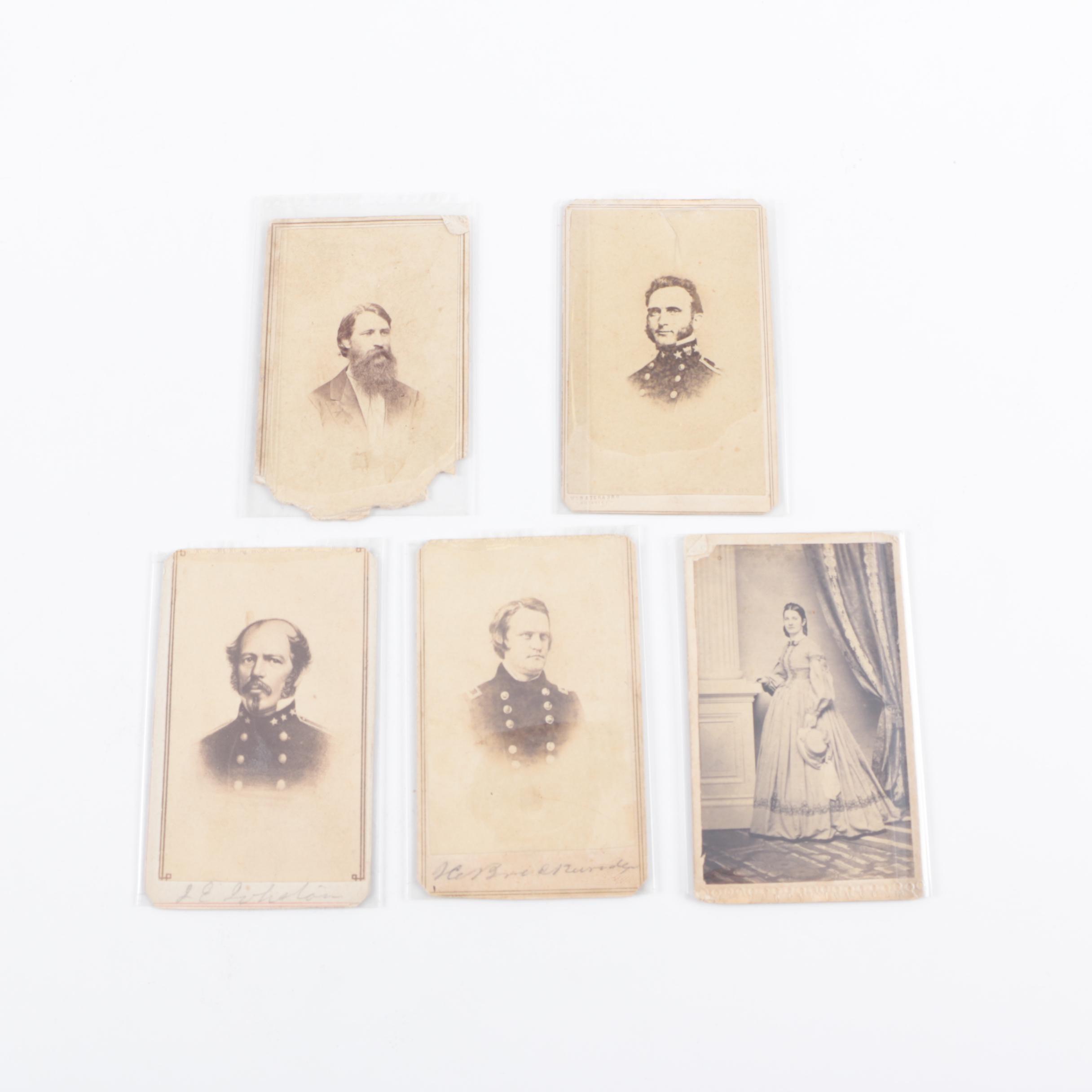 Five Civil War Era Photographic Cartes de Visite