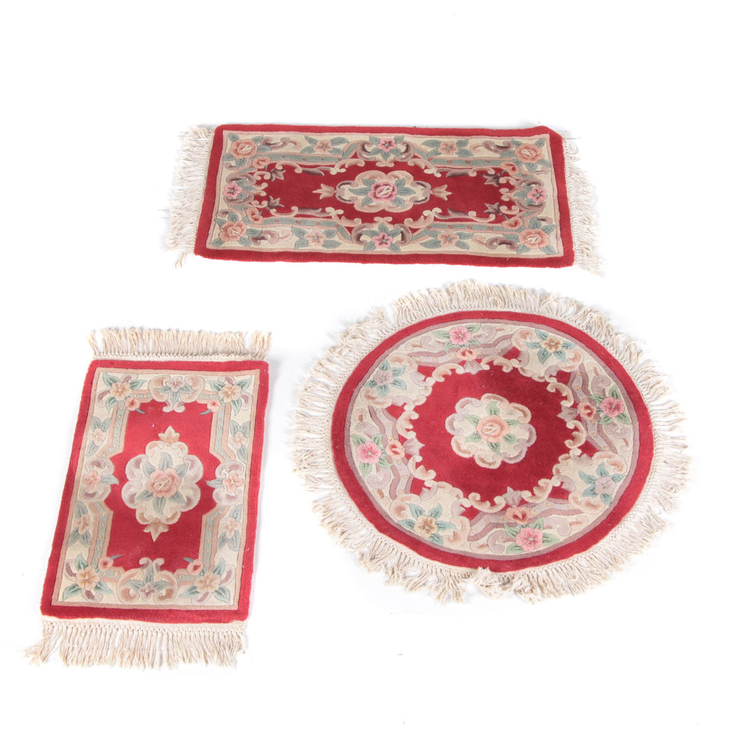 Set of Hand Tufted Chinese Carved Wool Accent Rugs