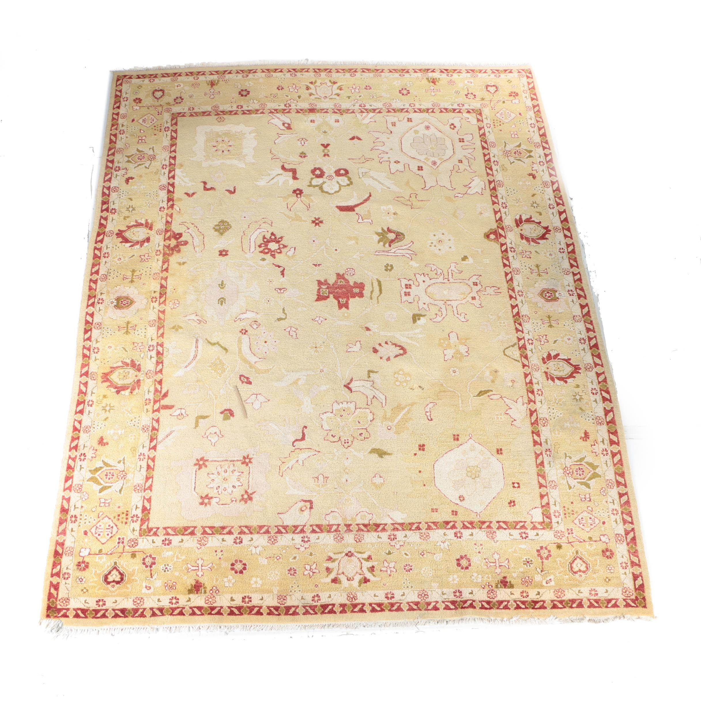 Hand-Knotted Indo-Oushak Style Wool Area Rug