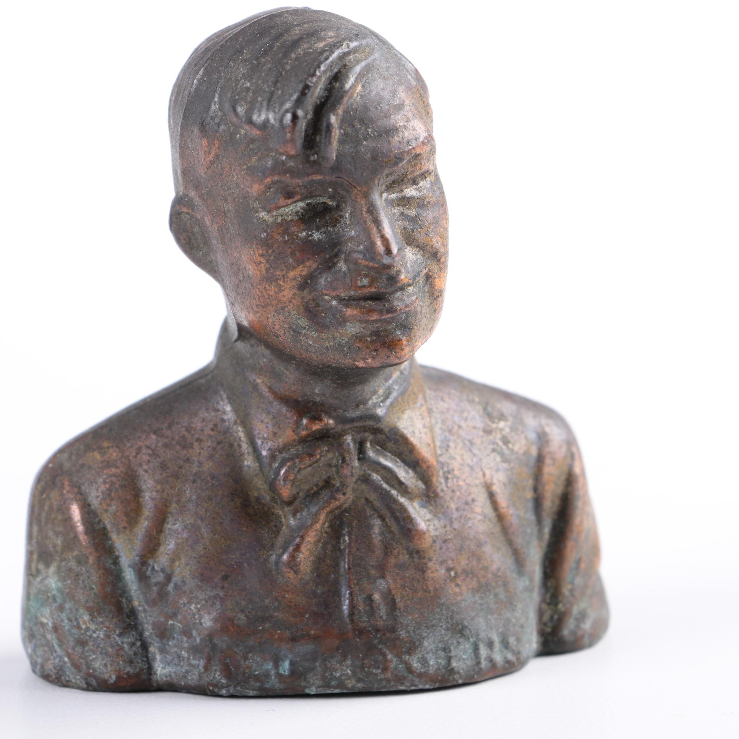 Decorative Will Rogers Cast Metal Bust