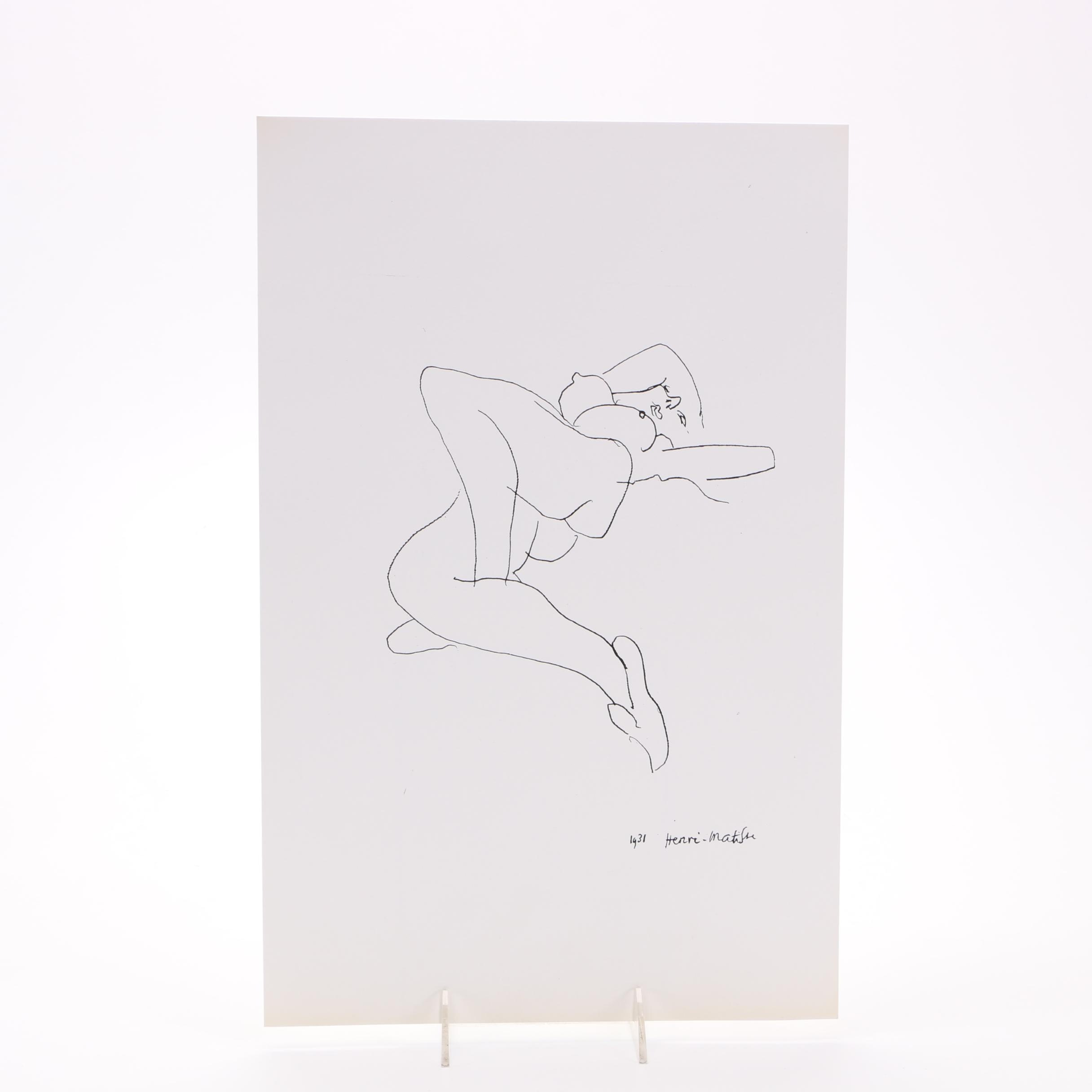 "Lithograph After Henri Matisse's Ink Drawing ""La Arabesque"""