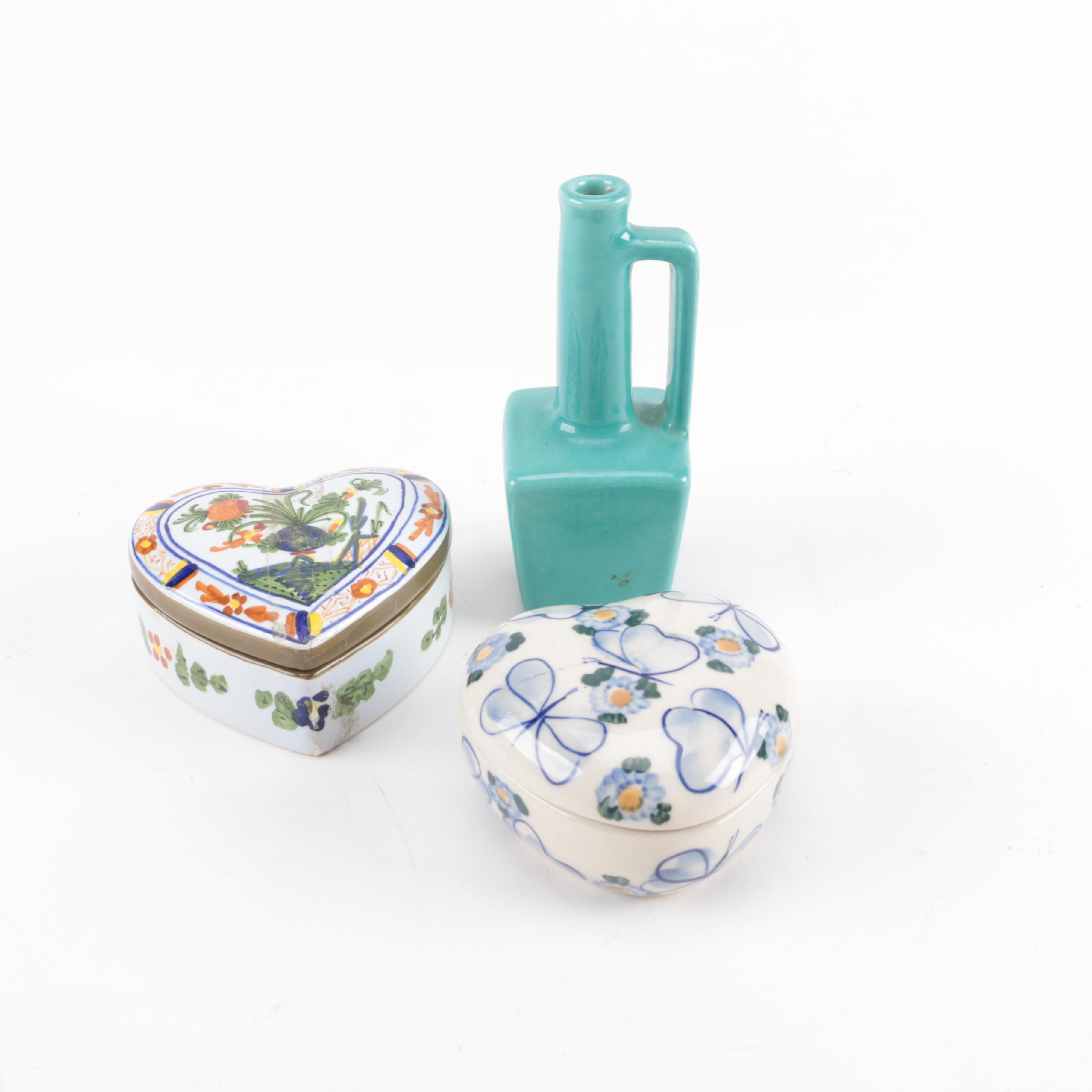 Ceramic Trinket Boxes and Vase
