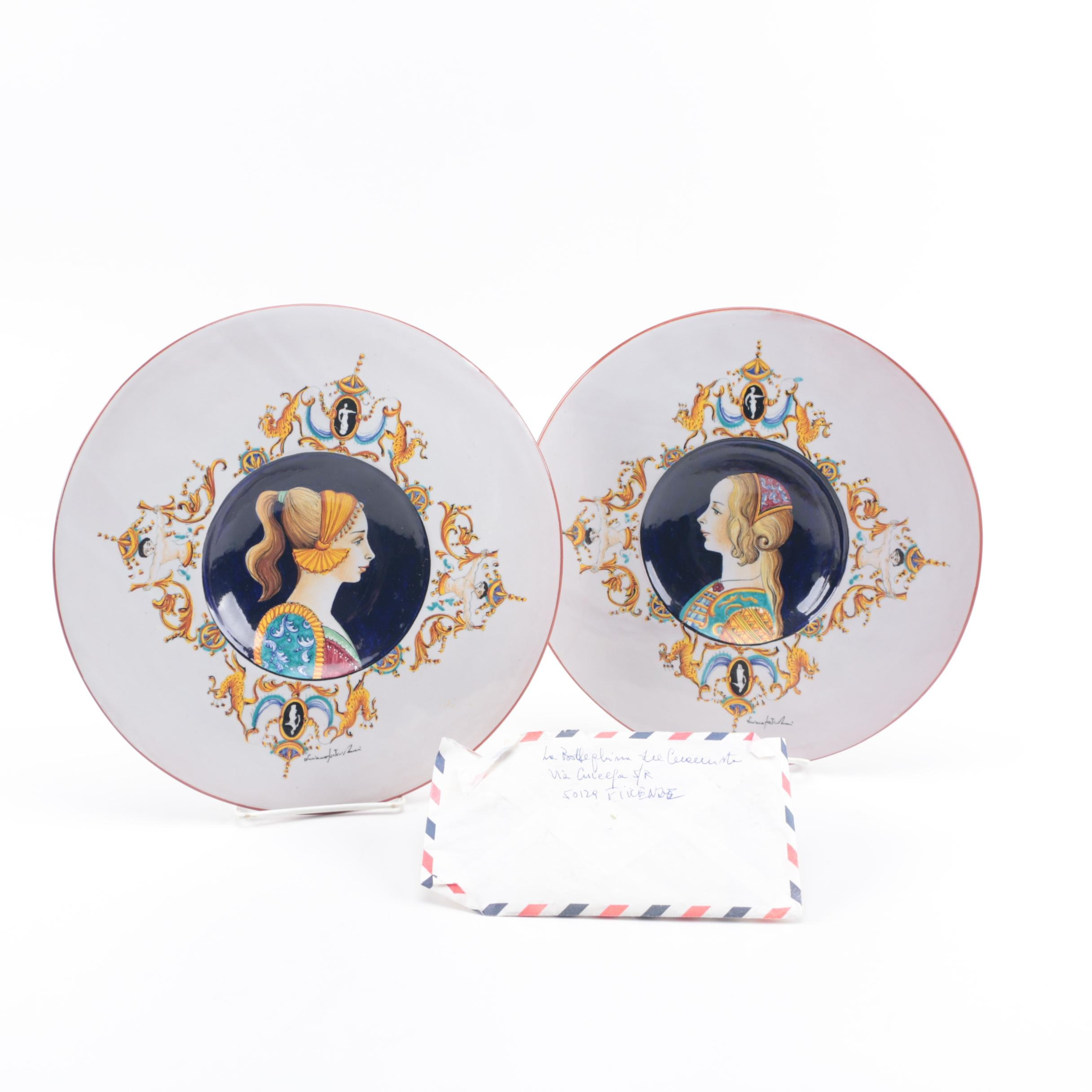 Hand Painted Reproduction Plates after Nicola Pellipario