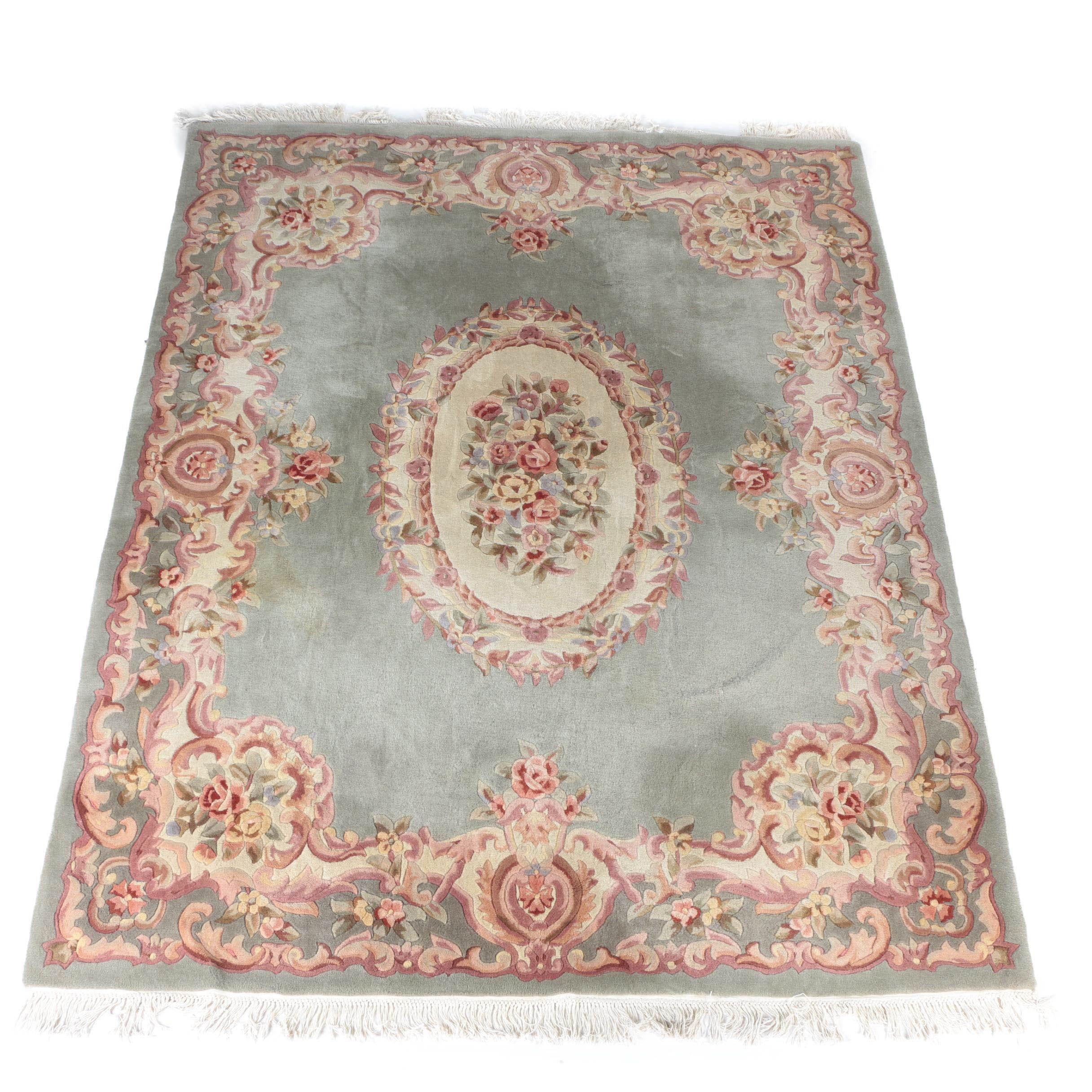 Hand-Tufted Chinese Savonnerie Style Carved Wool Area Rug