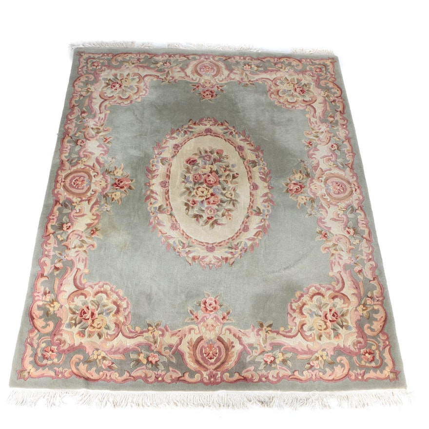 Hand Tufted Chinese Savonnerie Style Carved Wool Area Rug