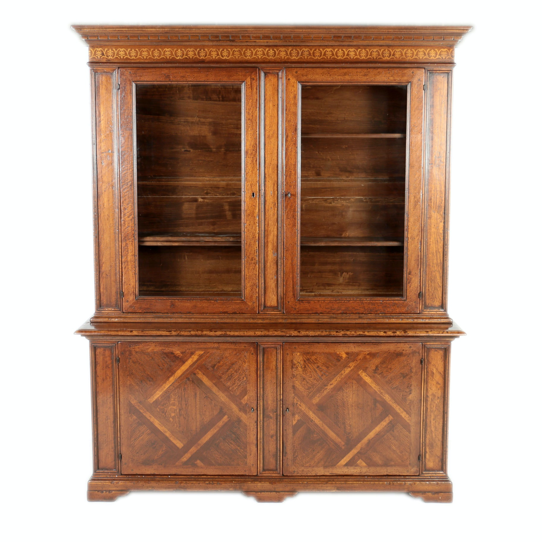 Vintage Walnut Parquetry Display Cabinet