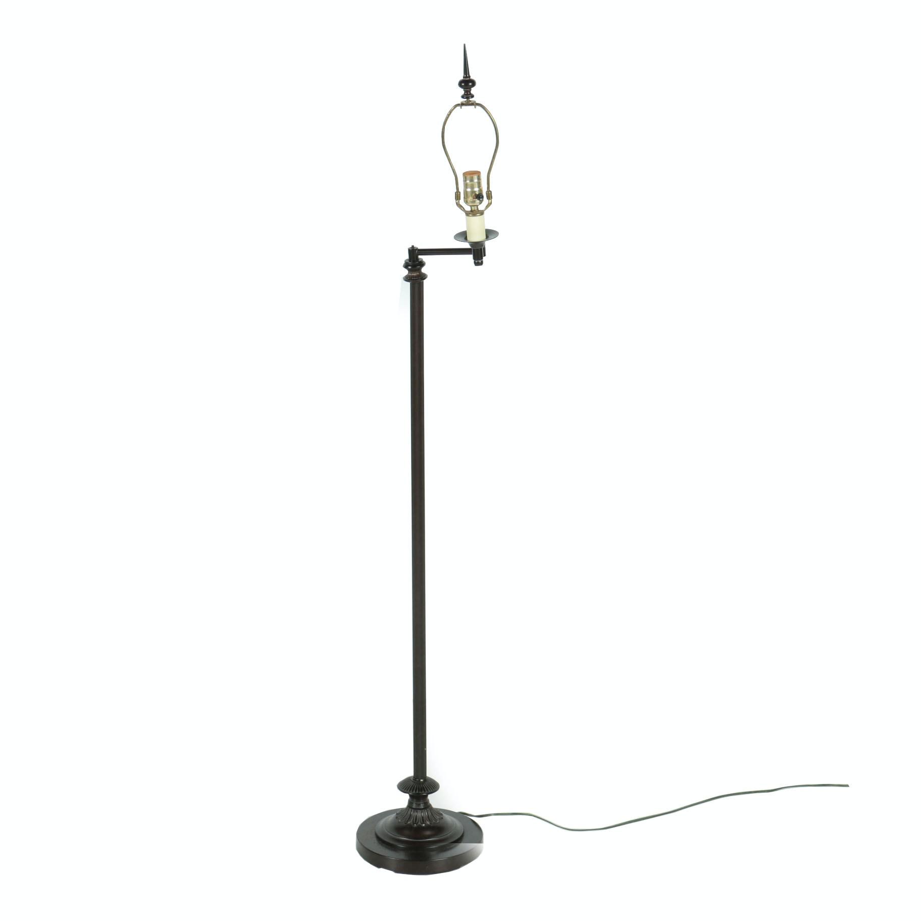 Brown Swing Arm Floor Lamp