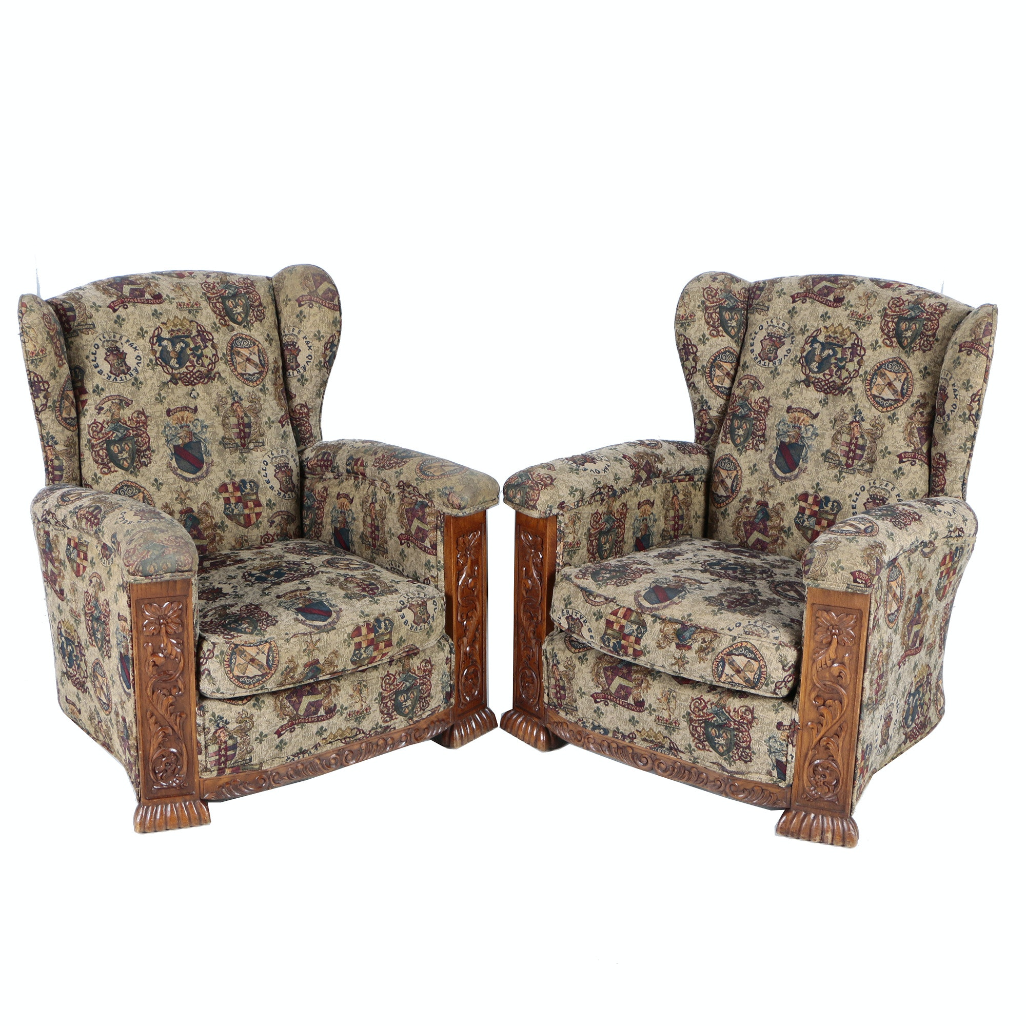 Pair of Claw Foot Wingback Chairs