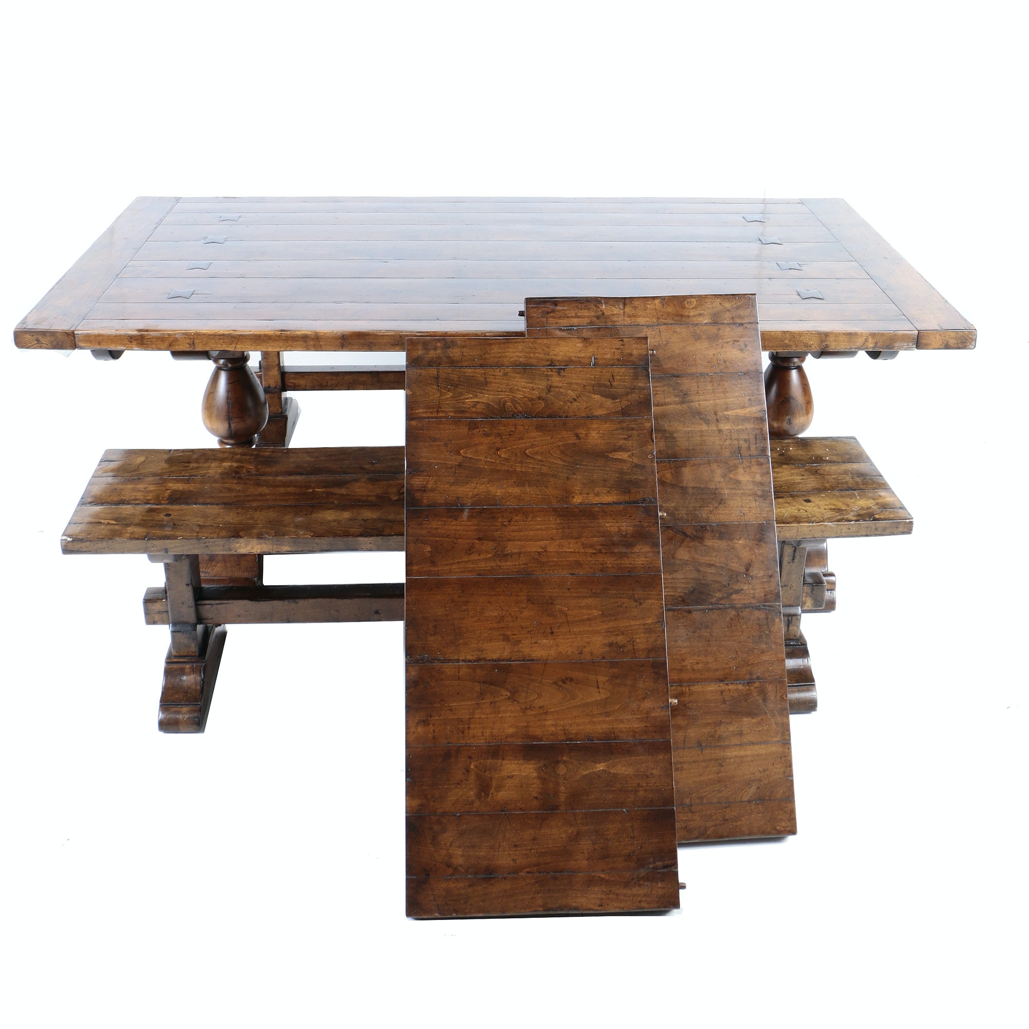 Walnut Stained Trestle Dinging Table with Extension Leaves and Benches