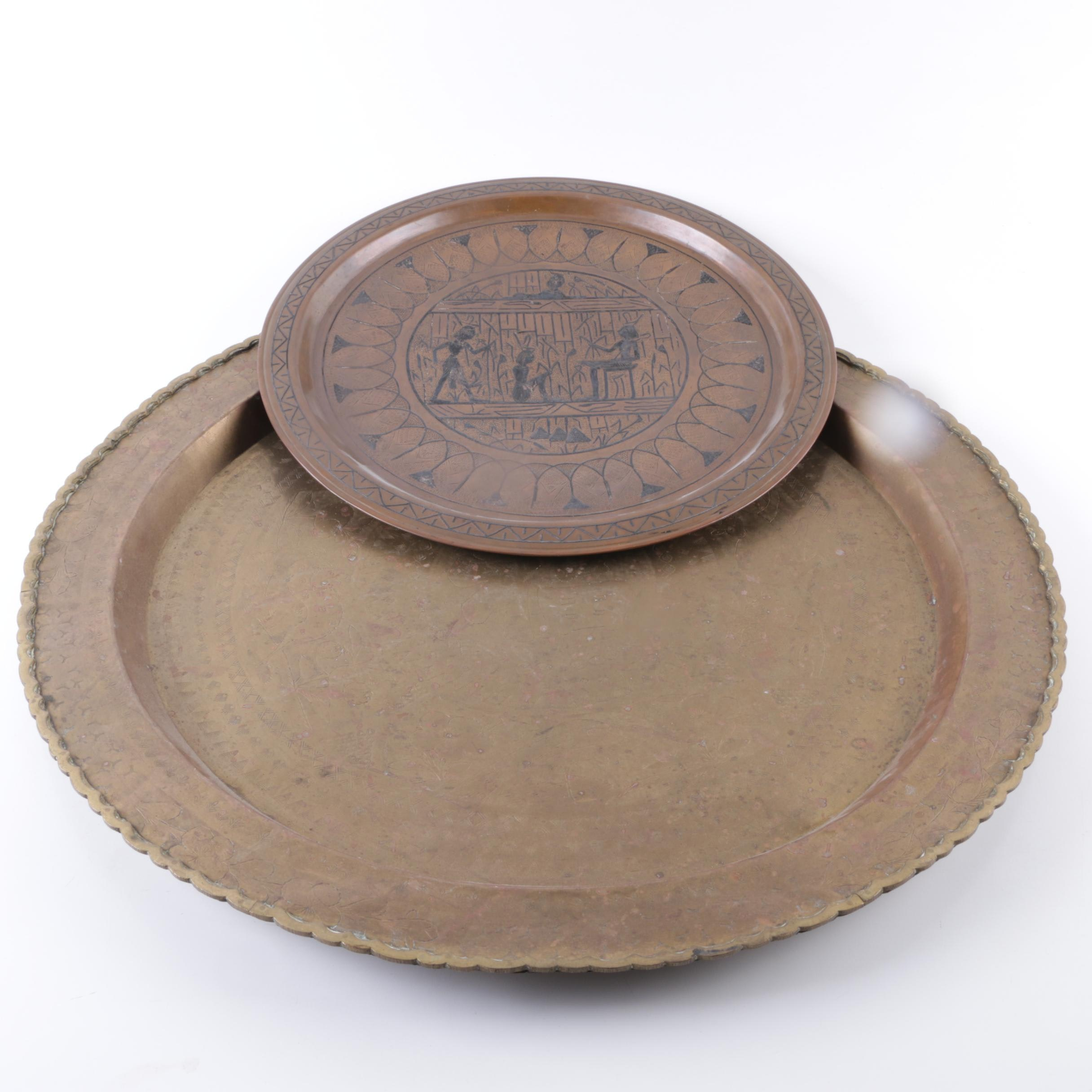 Chinese and Egyptian Inspired Brass Trays