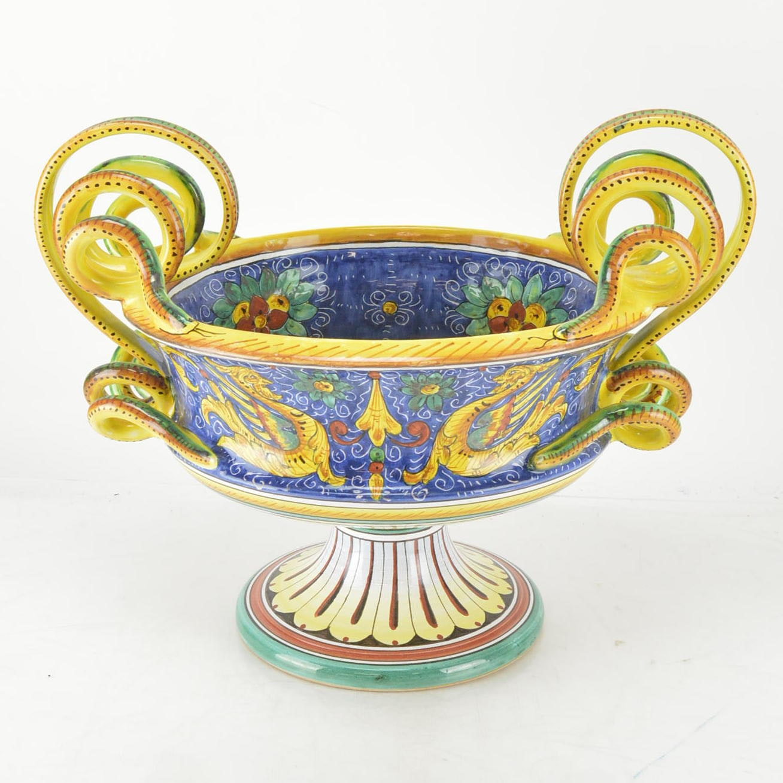 Italian Hand-Painted Ceramic Urn Centerpiece