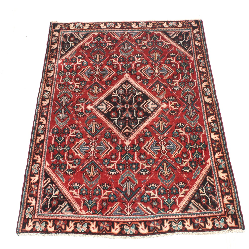 Hand-Knotted Semi-Antique Sultanabad Sarouk Area Rug
