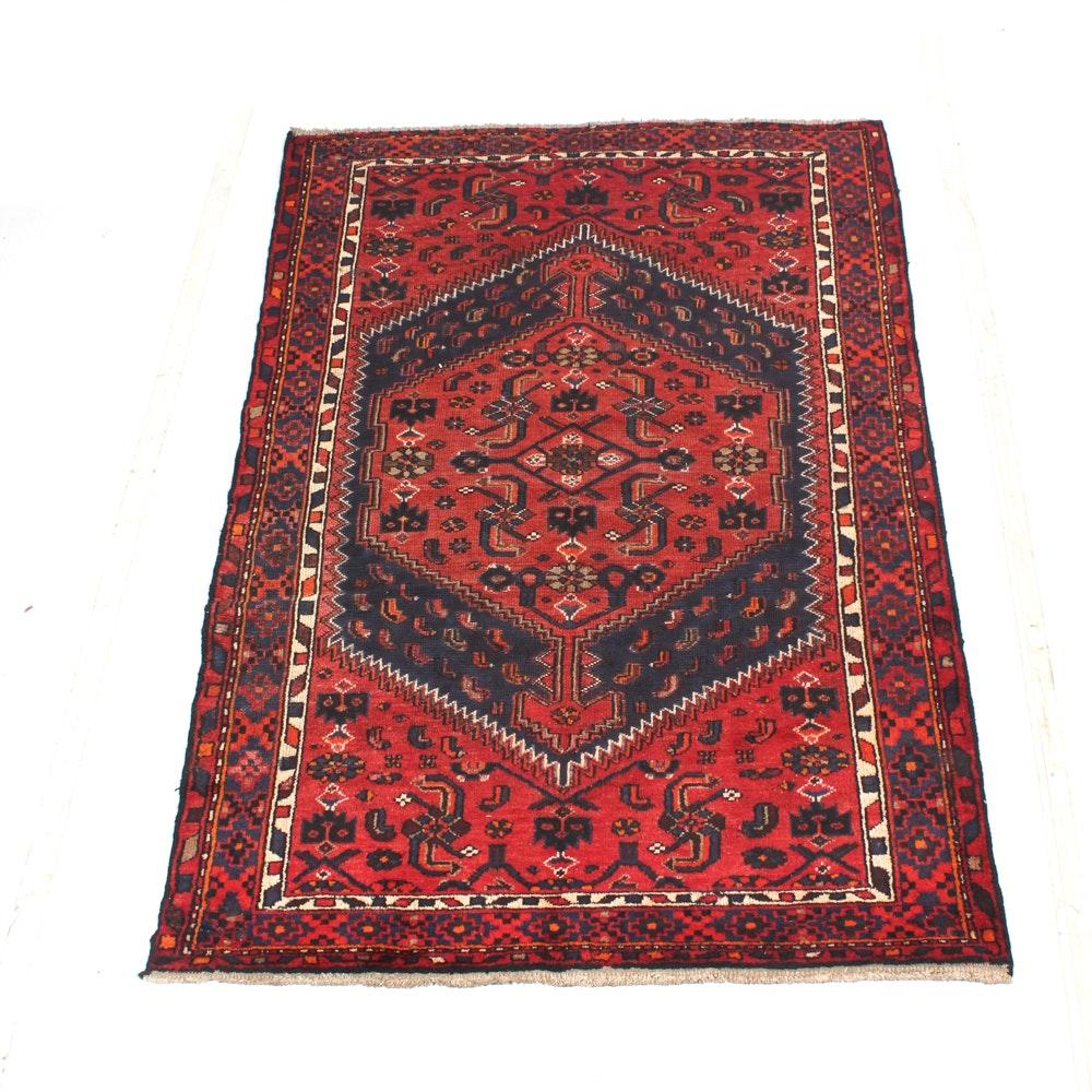 Hand-Knotted Vintage Persian Kurdish Bijar Area Rug