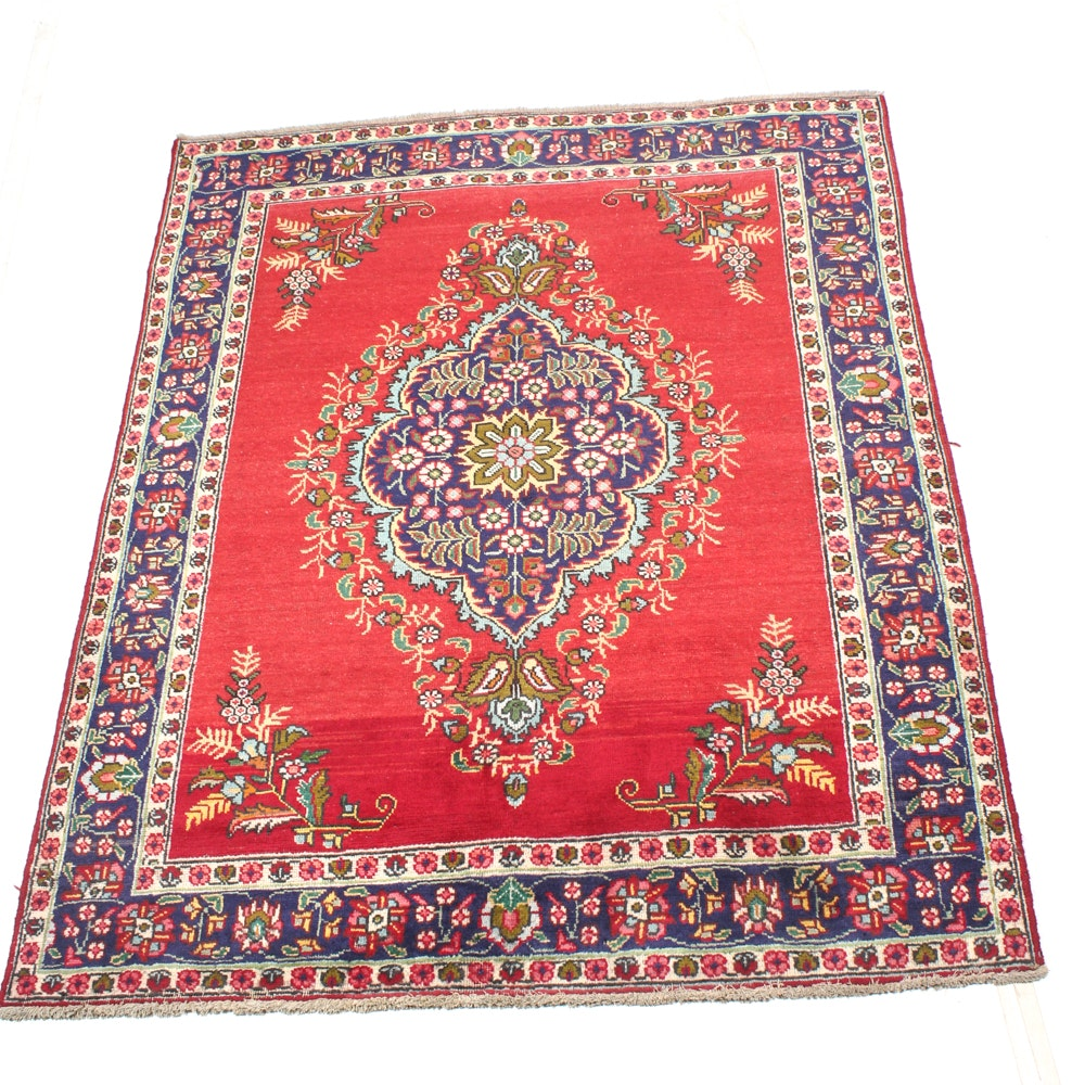 Hand-Knotted Vintage Persian Tabriz Area Rug
